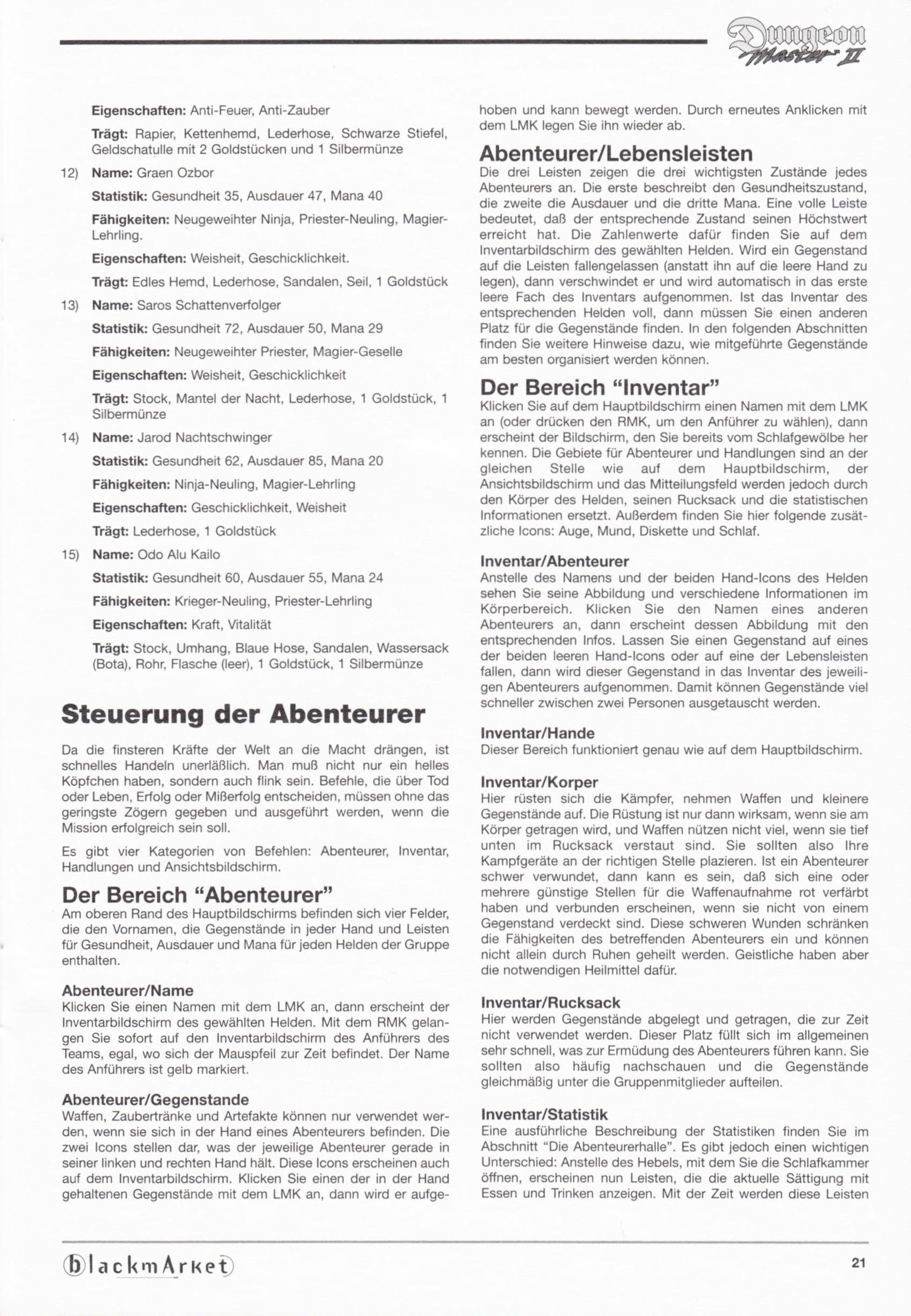 Game - Dungeon Master II - DE - PC - Blackmarket With Manual - Manual - Page 023 - Scan