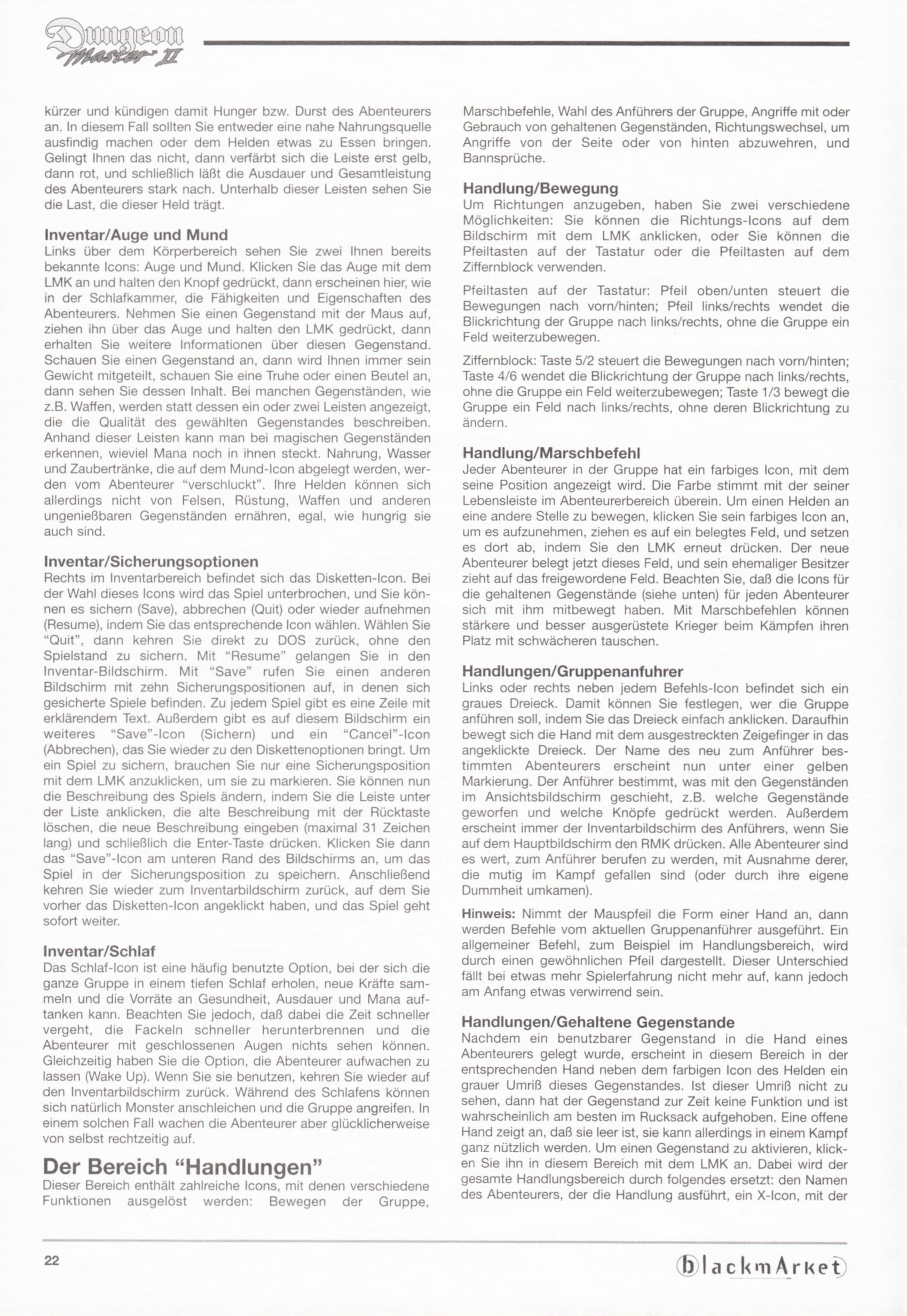Game - Dungeon Master II - DE - PC - Blackmarket With Manual - Manual - Page 024 - Scan