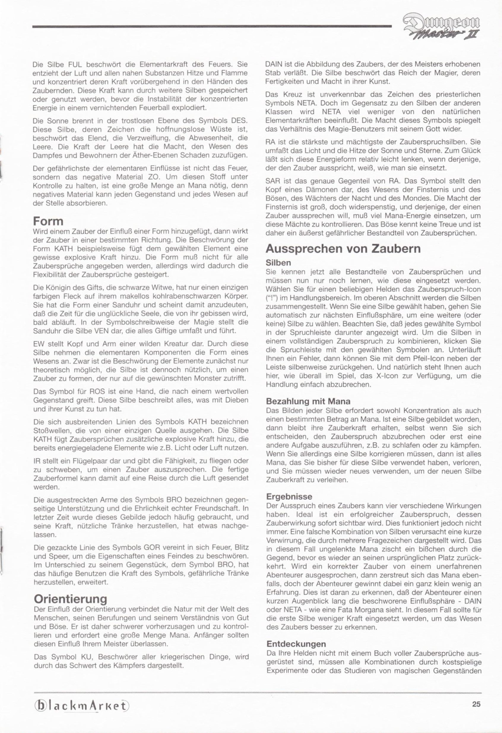 Game - Dungeon Master II - DE - PC - Blackmarket With Manual - Manual - Page 027 - Scan