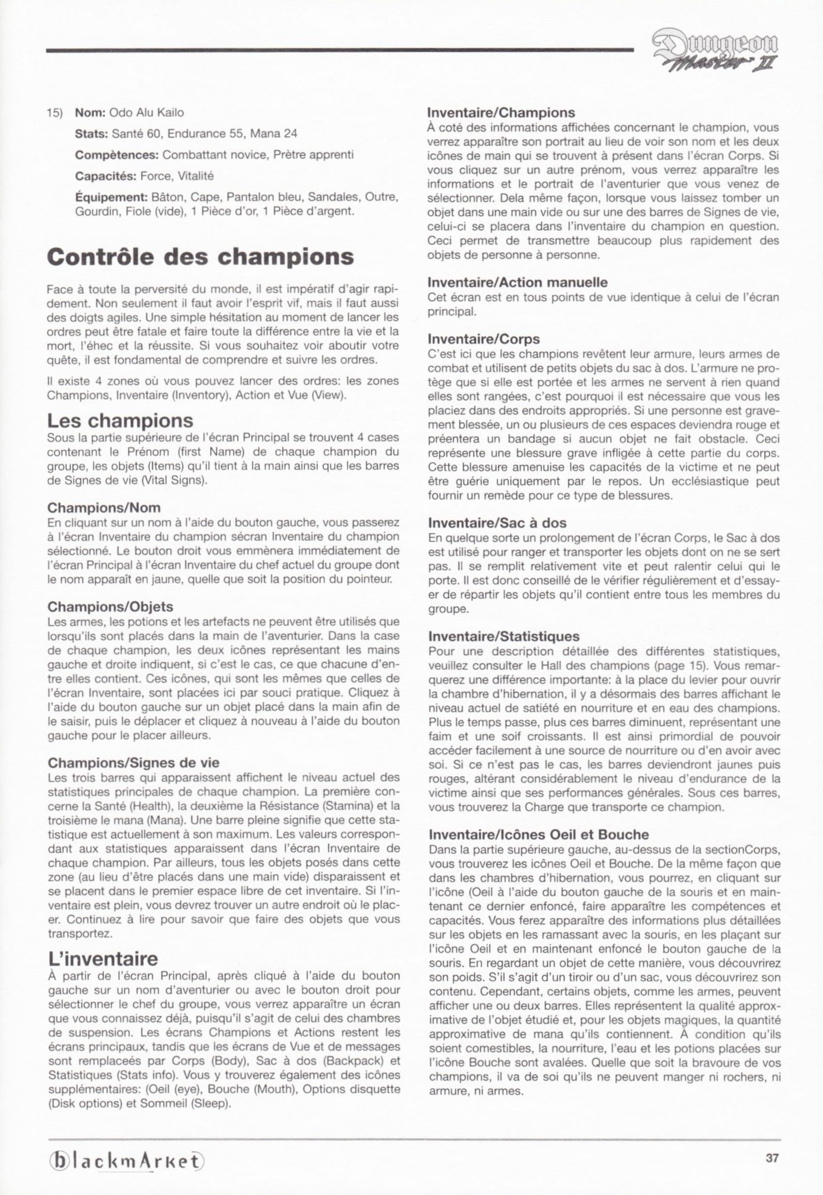 Game - Dungeon Master II - DE - PC - Blackmarket With Manual - Manual - Page 039 - Scan