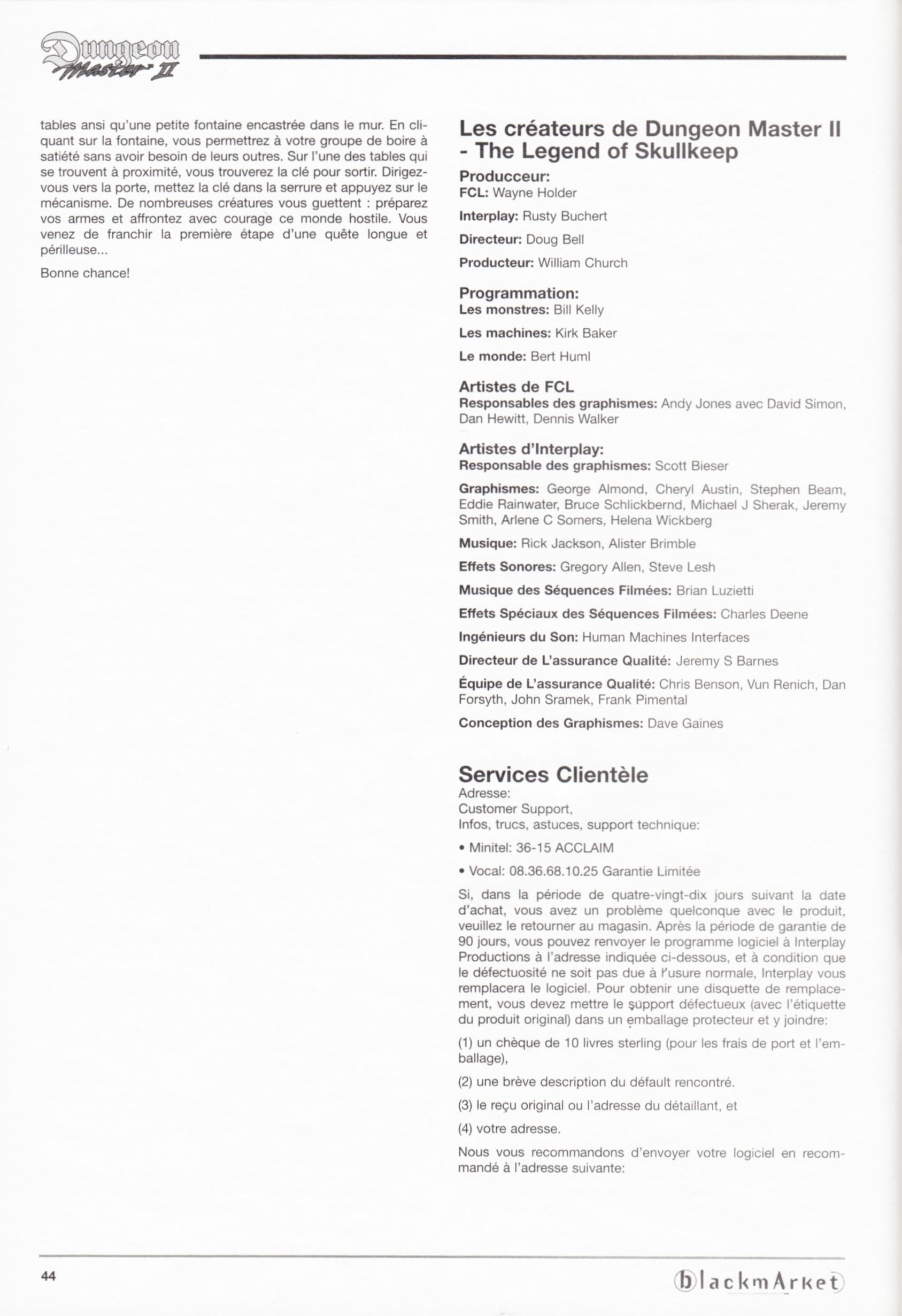 Game - Dungeon Master II - DE - PC - Blackmarket With Manual - Manual - Page 046 - Scan
