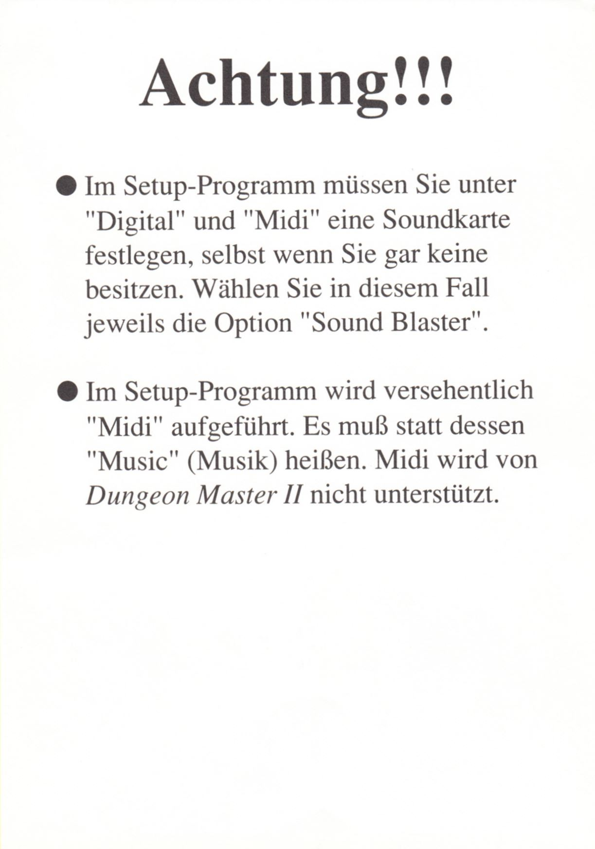 Game - Dungeon Master II - DE - PC - CD Version - Note - Front - Scan