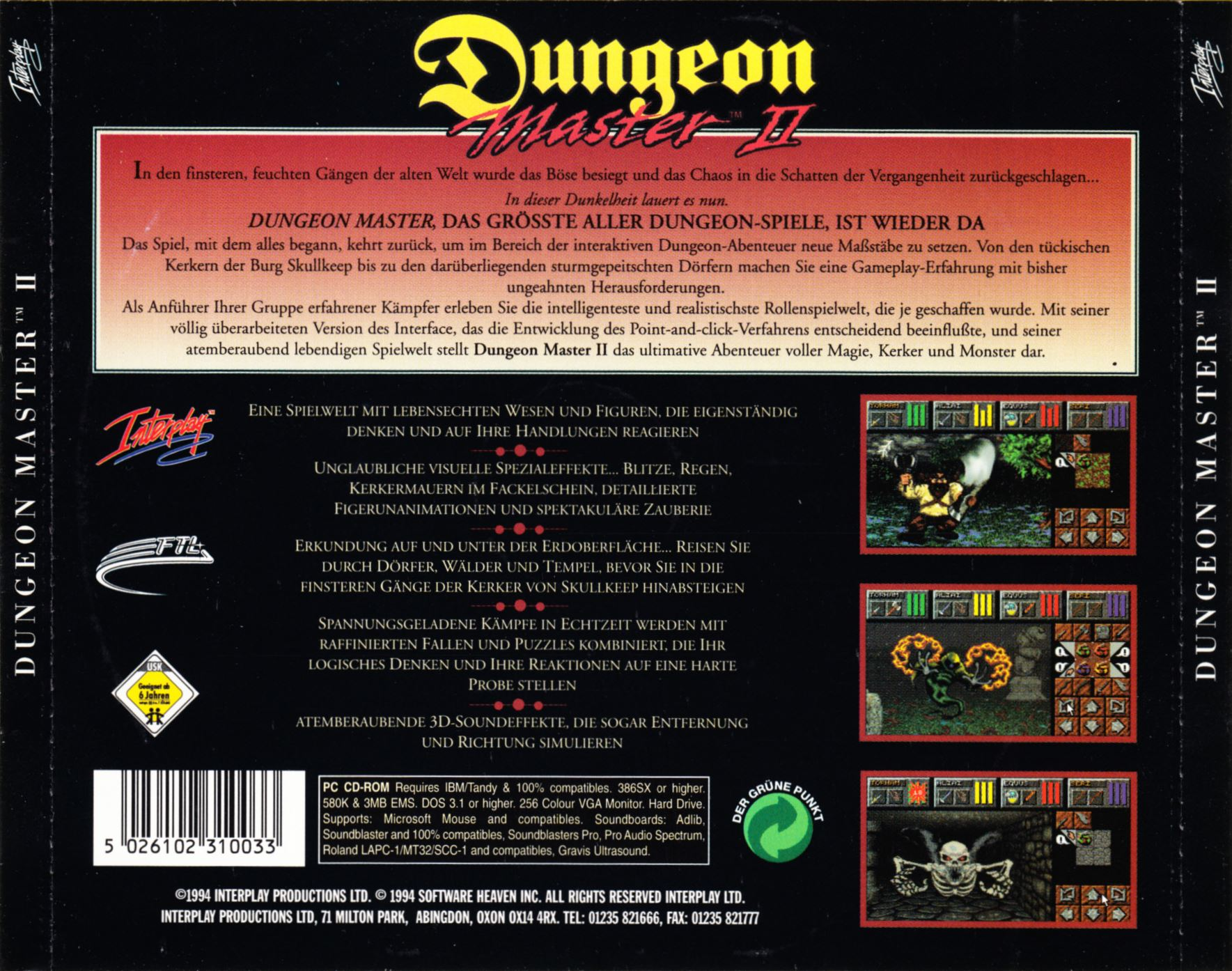Game - Dungeon Master II - DE - PC - Jewel Case - Back Card - Front - Scan