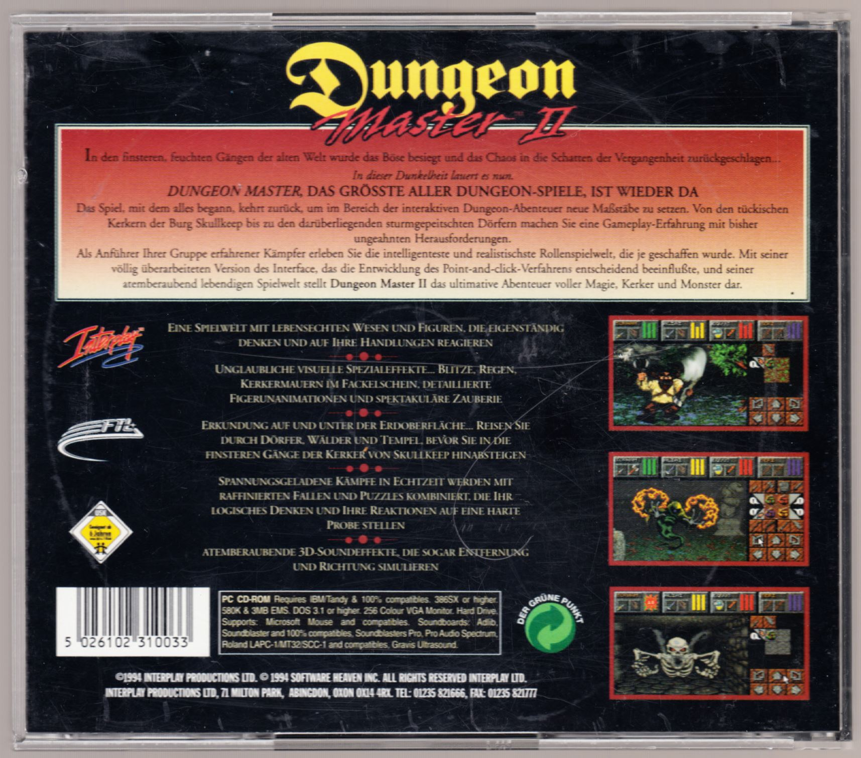 Game - Dungeon Master II - DE - PC - Jewel Case - Box - Back - Scan