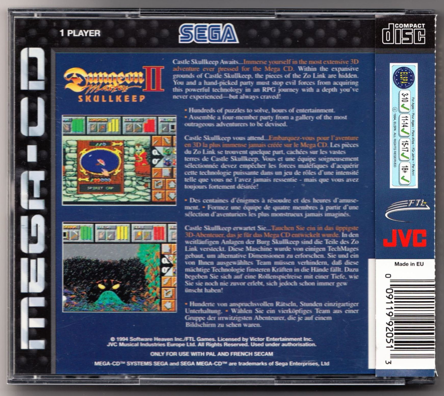 Game - Dungeon Master II - EU - Mega CD - Box - Back - Scan