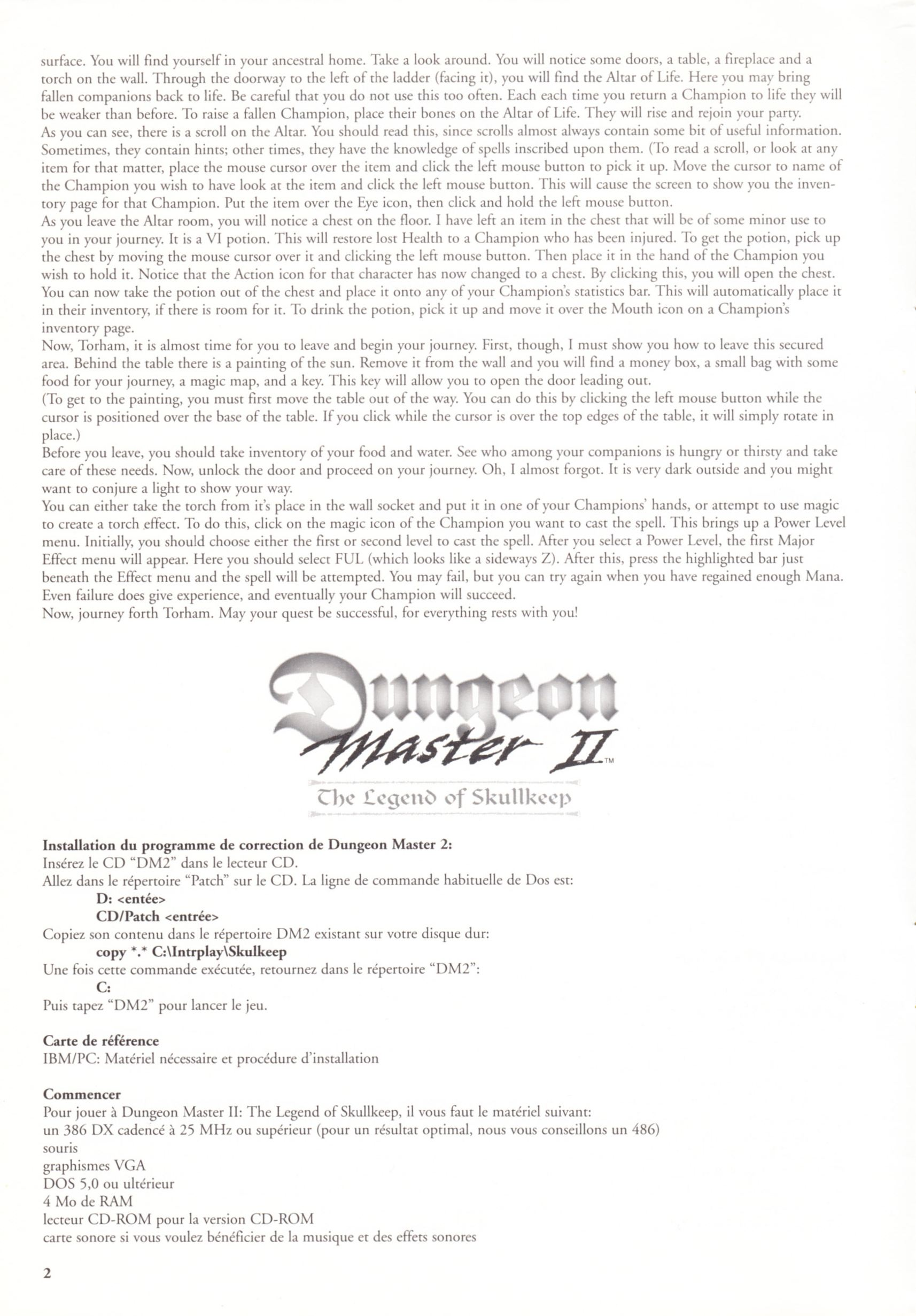 Game - Dungeon Master II - FR - PC - Blackmarket With Manual - Reference Card - Page 002 - Scan