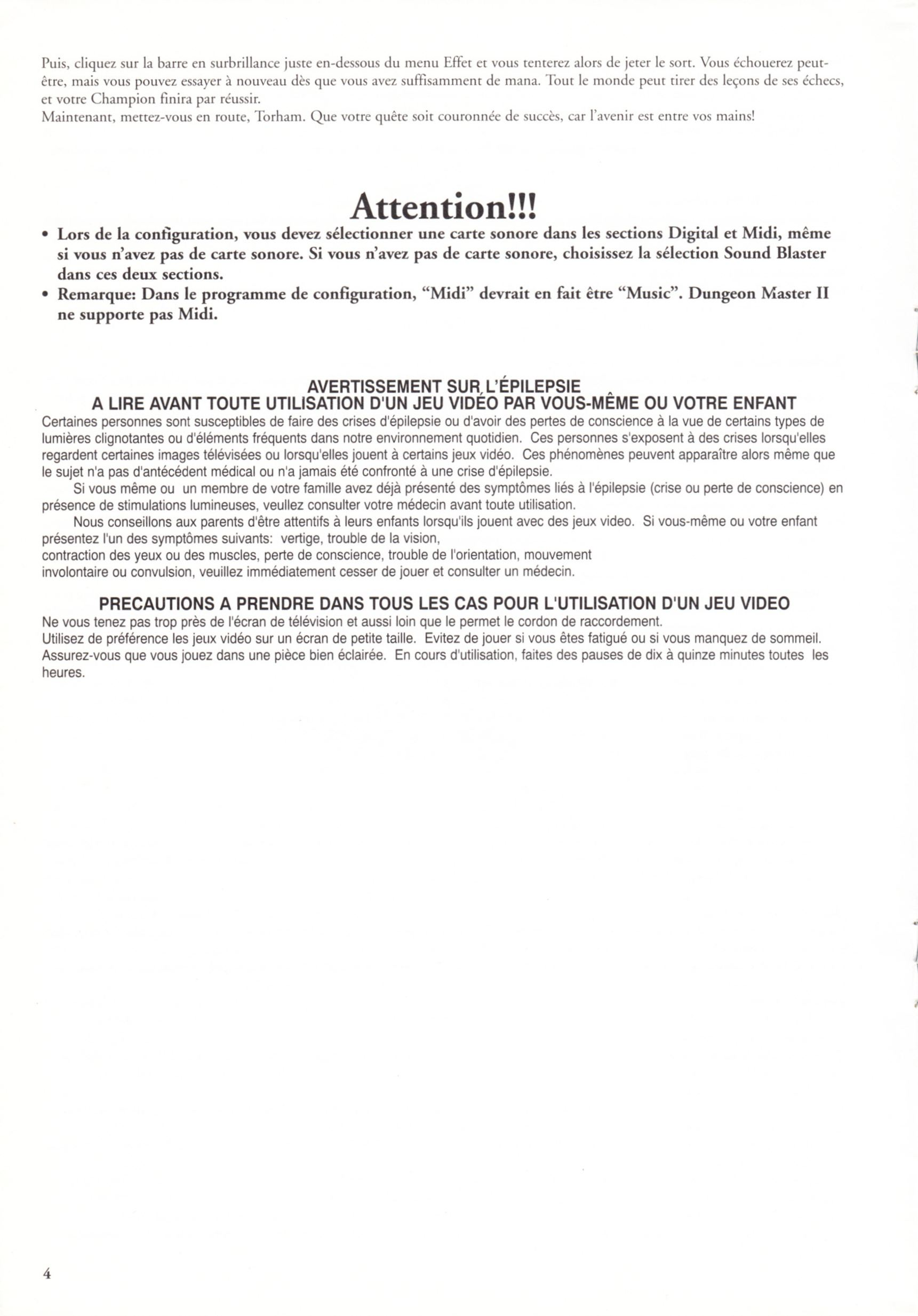 Game - Dungeon Master II - FR - PC - Blackmarket With Manual - Reference Card - Page 004 - Scan