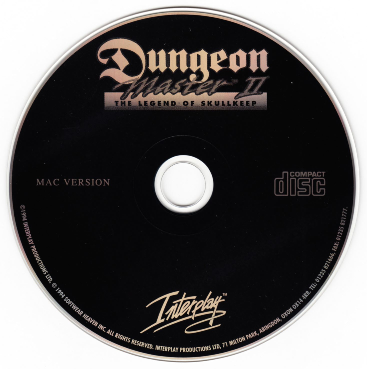 Game - Dungeon Master II - UK - Macintosh - Compact Disc - Front - Scan