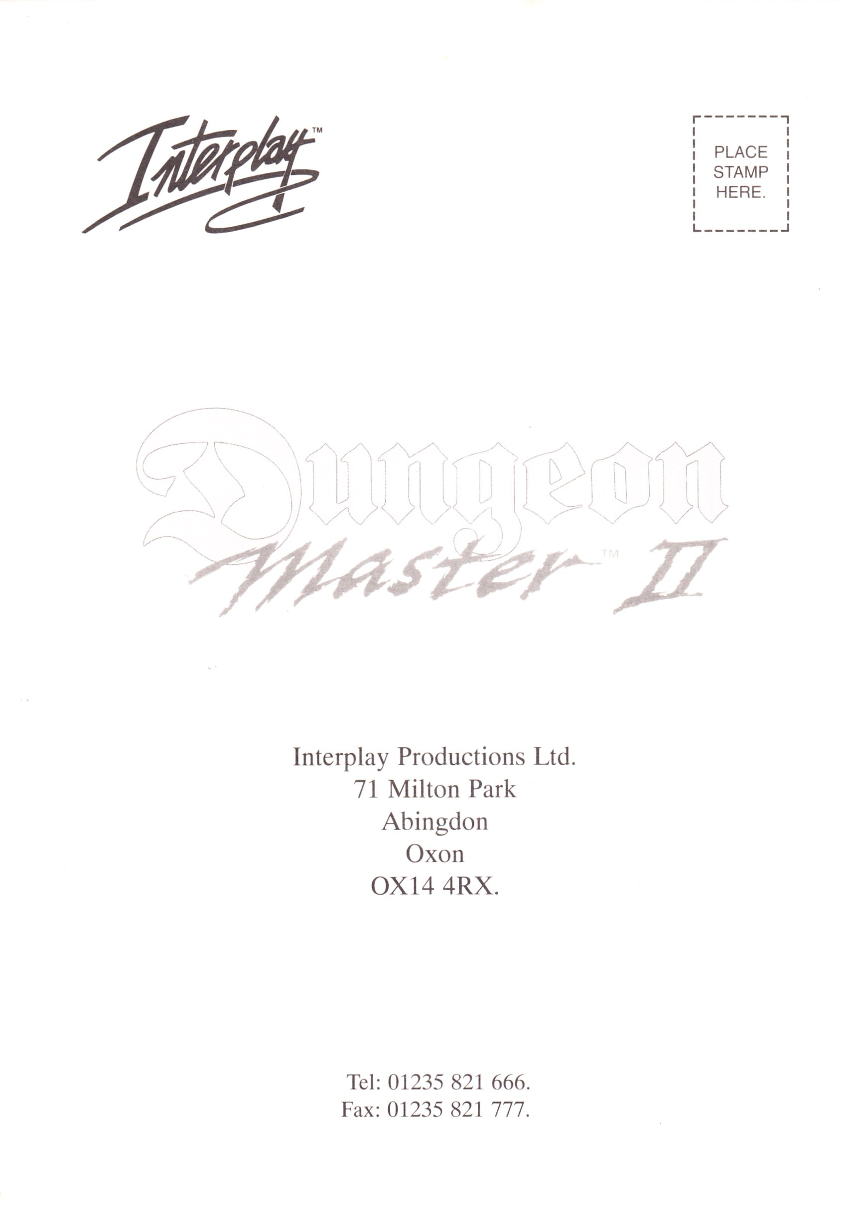 Game - Dungeon Master II - UK - PC - CD Version - Registration Card - Front - Scan