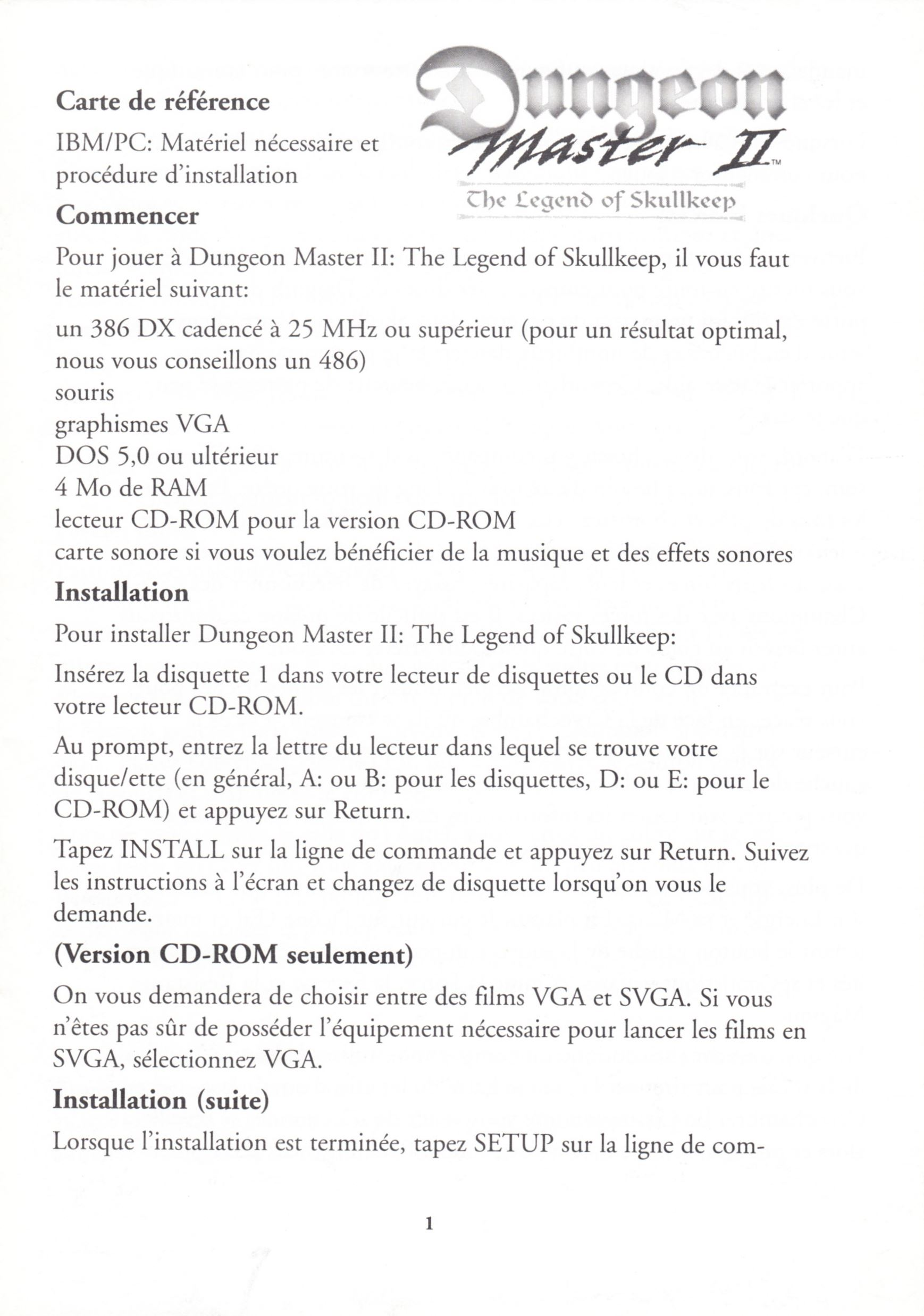 Game - Dungeon Master II - UK - PC - Floppy Version - Reference Card - Page 001 - Scan