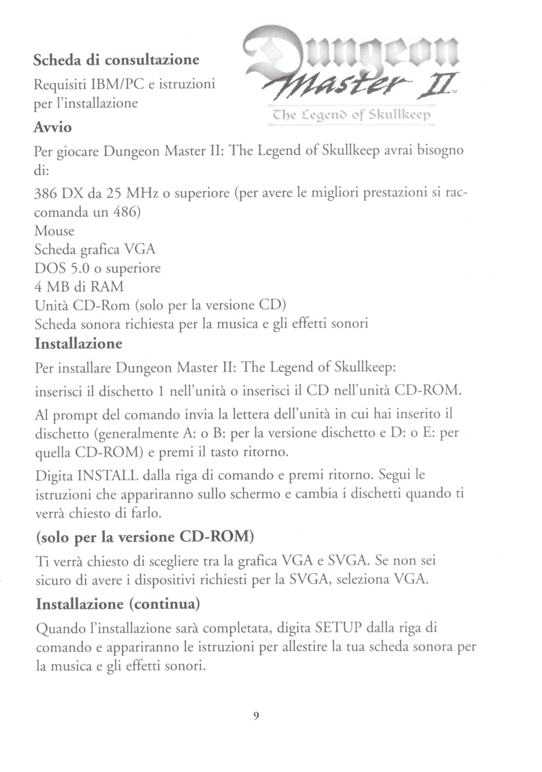 Game - Dungeon Master II - UK - PC - Floppy Version - Reference Card - Page 009 - Scan