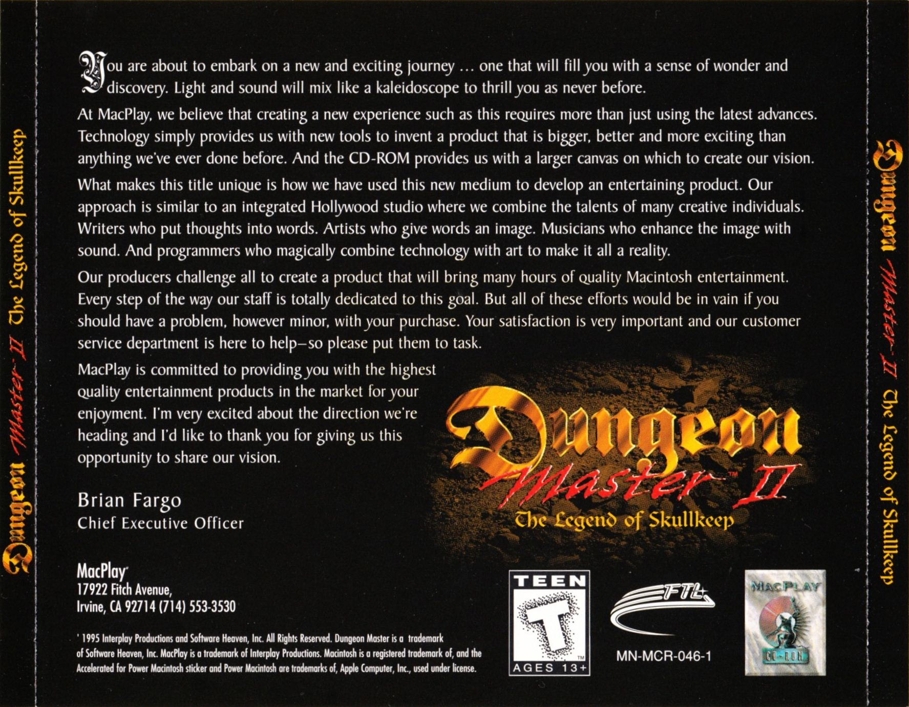 Game - Dungeon Master II - US - Macintosh - Back Card - Front - Scan
