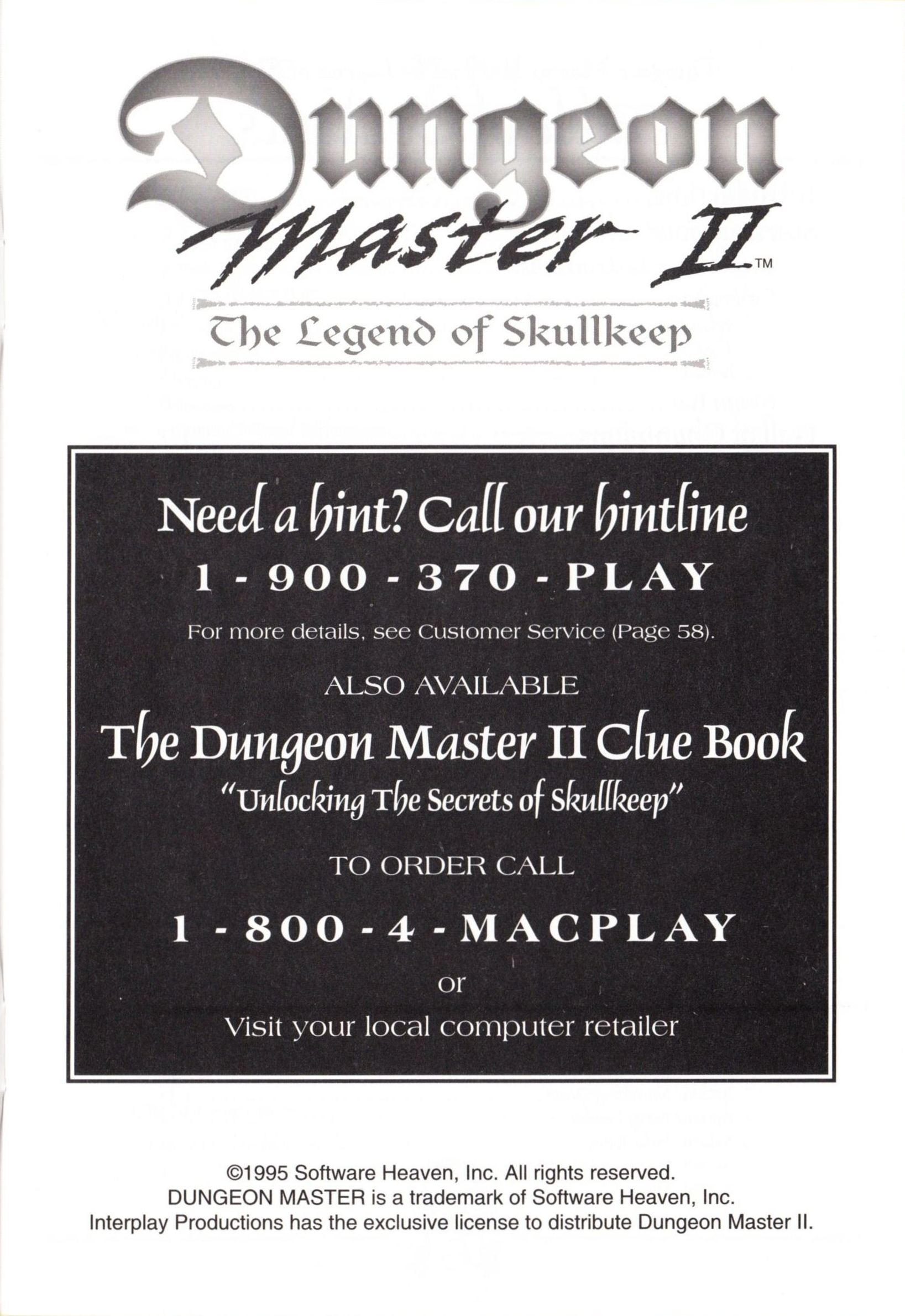 Game - Dungeon Master II - US - Macintosh - Manual - Page 003 - Scan