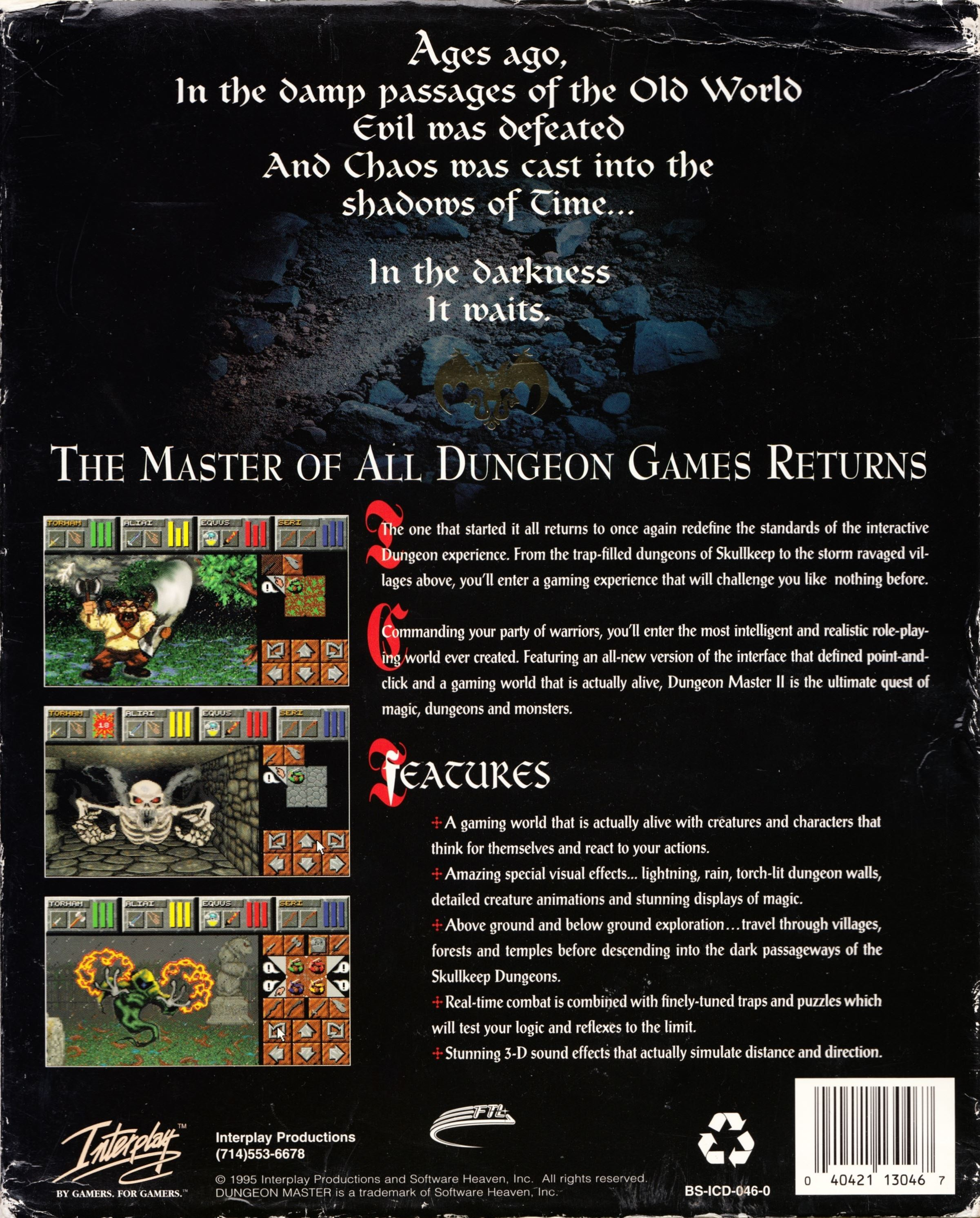 Game - Dungeon Master II - US - PC - Big Box RSAC - Box Sleeve - Back - Scan