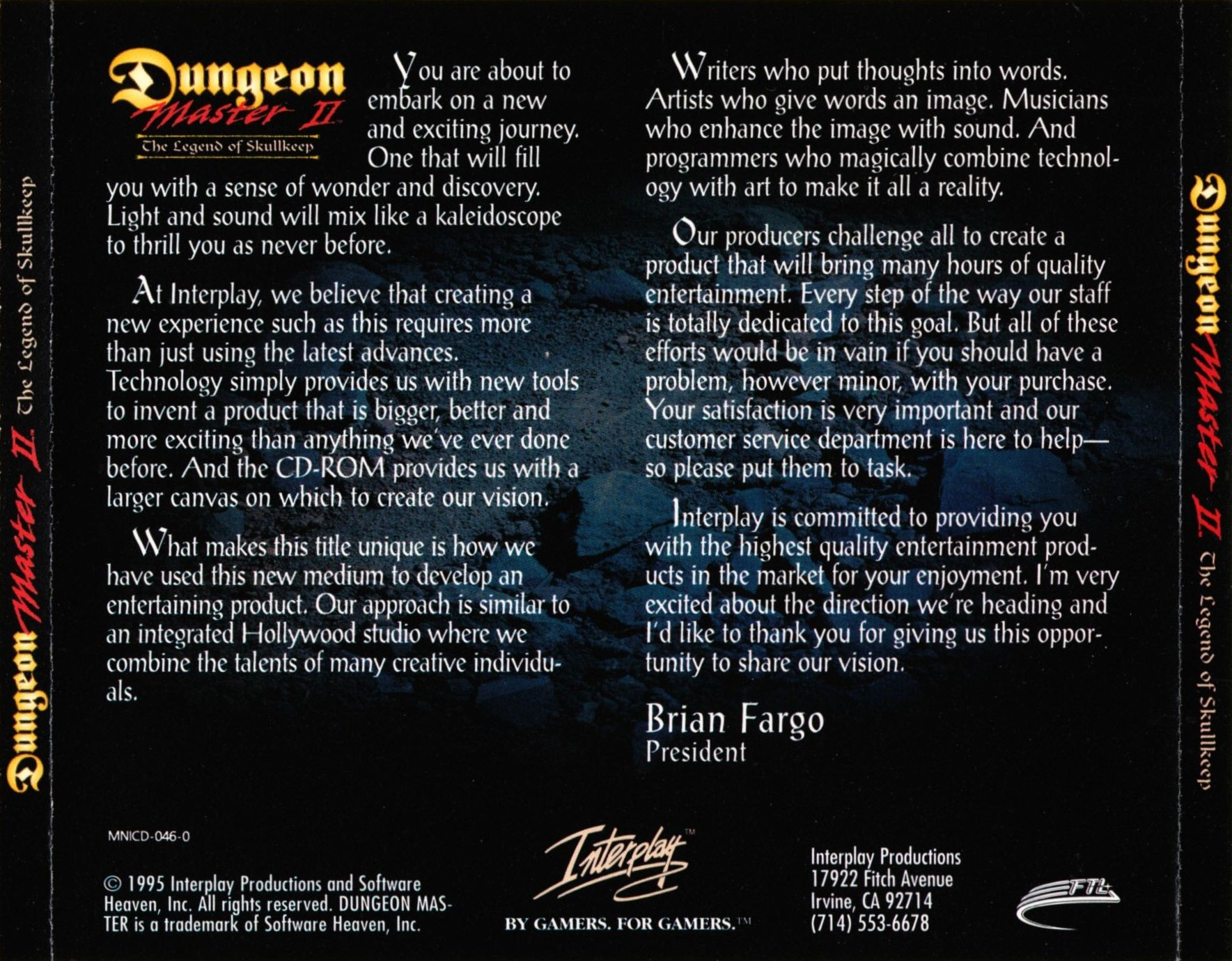 Game - Dungeon Master II - US - PC - Big Box - Back Card - Front - Scan