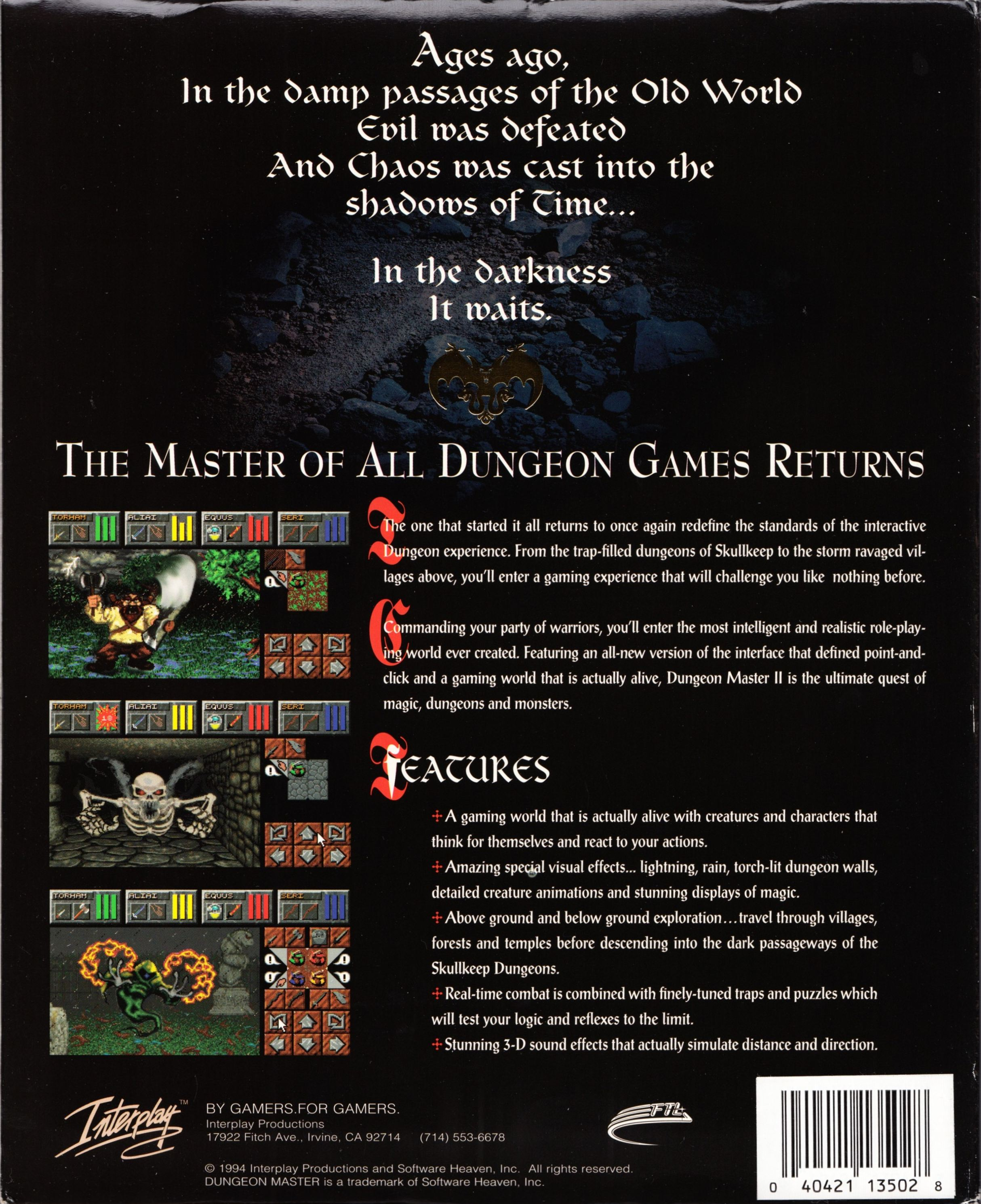 Game - Dungeon Master II - US - PC - Big Box - Box Sleeve - Back - Scan