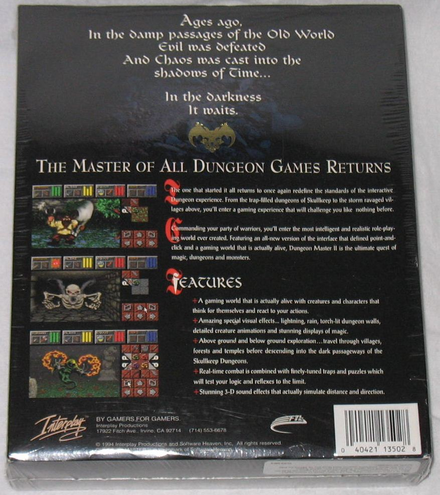 Game - Dungeon Master II - US - PC - Big Box - Box - Back - Photo