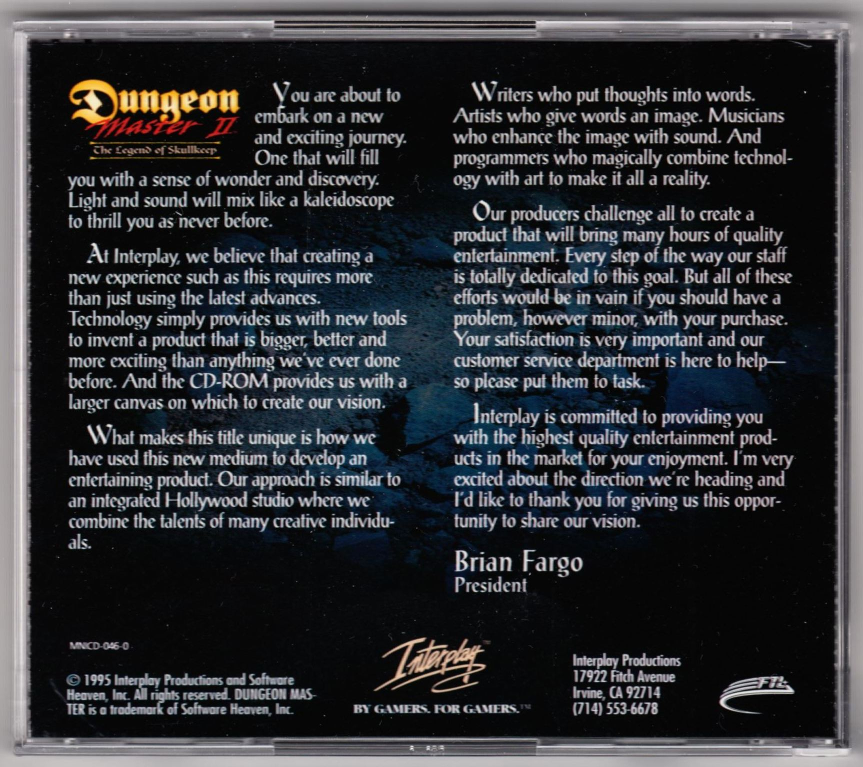 Game - Dungeon Master II - US - PC - Big Box - Compact Disc Box - Back - Scan