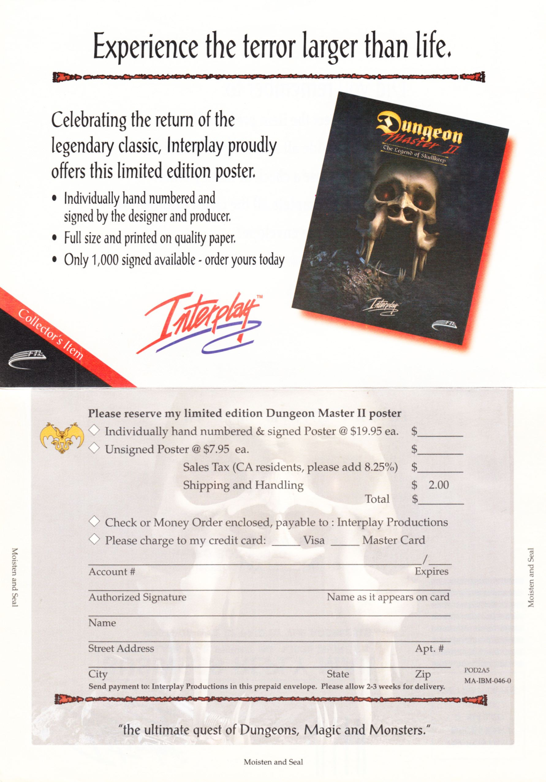 Game - Dungeon Master II - US - PC - Big Box - Poster Order Form - Back - Scan