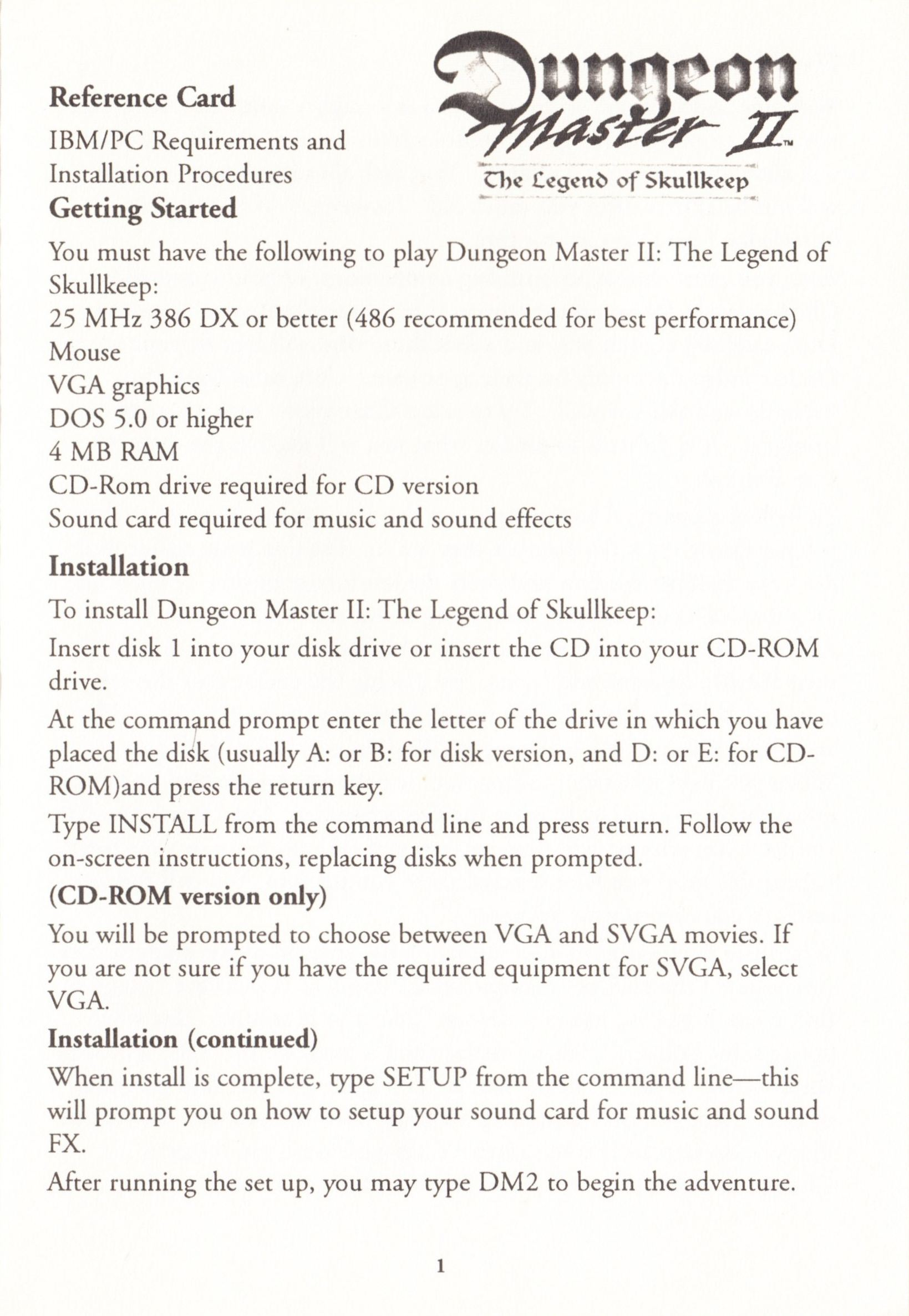 Game - Dungeon Master II - US - PC - Big Box - Reference Card - Page 001 - Scan