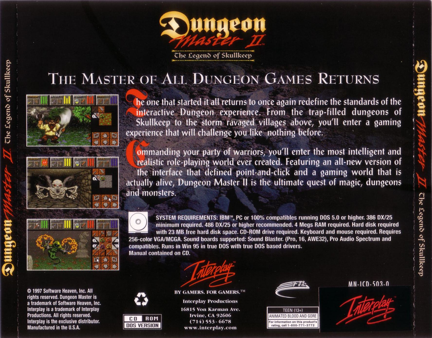 Game - Dungeon Master II - US - PC - Jewel Case - Back Card - Front - Scan
