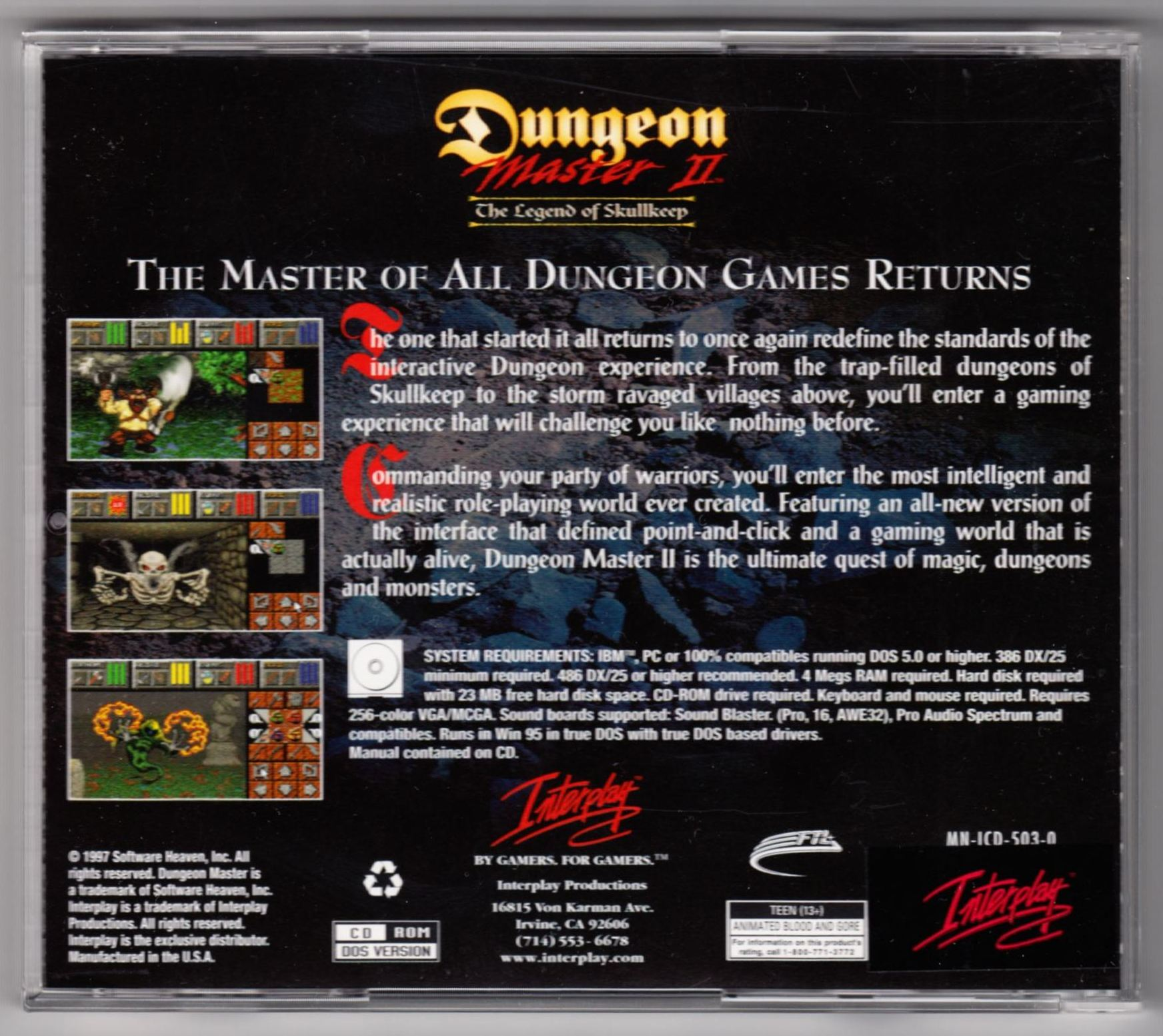 Game - Dungeon Master II - US - PC - Jewel Case - Box - Back - Scan