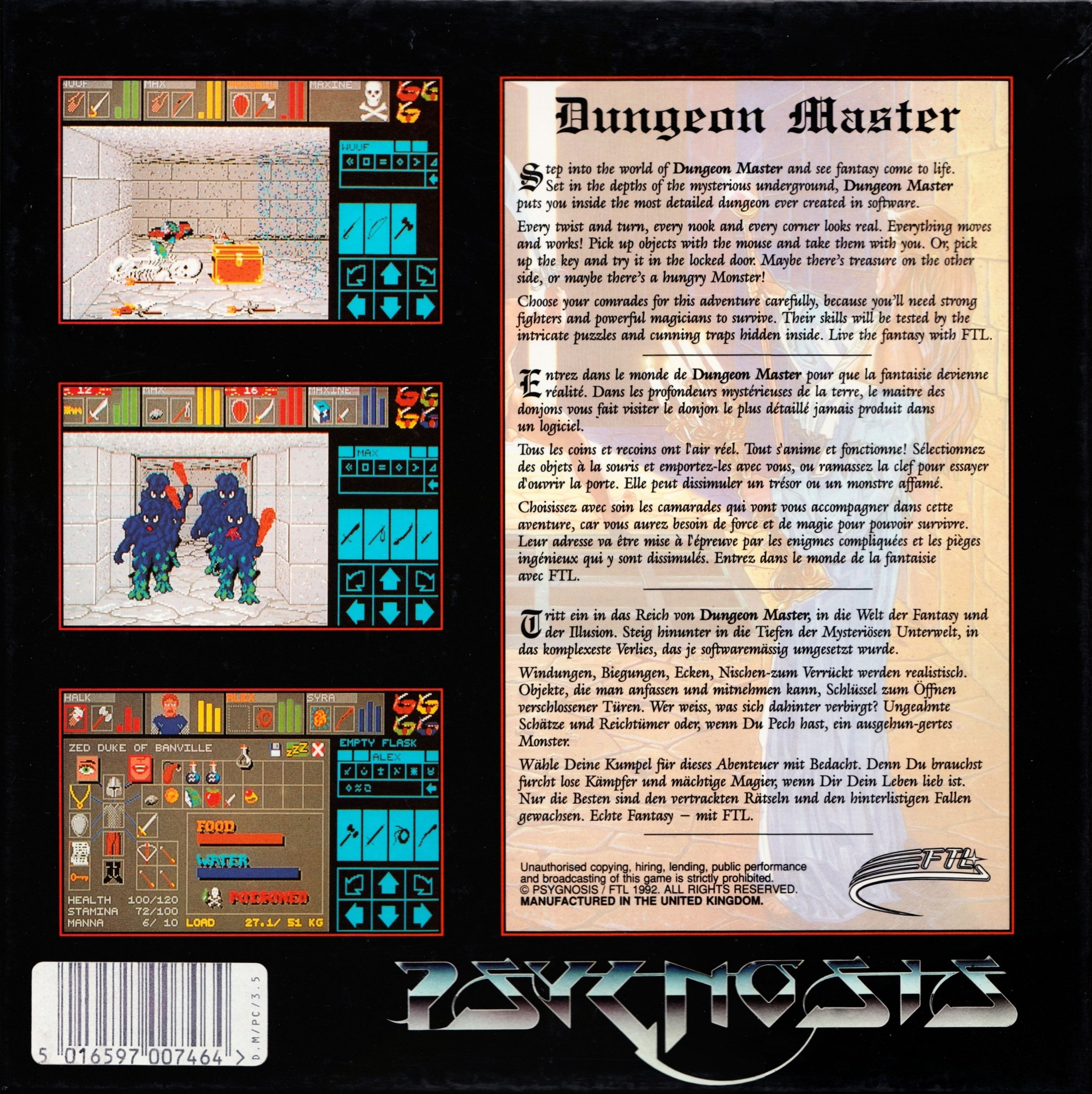 Game - Dungeon Master - DE - PC - Psygnosis - Box - Back - Scan