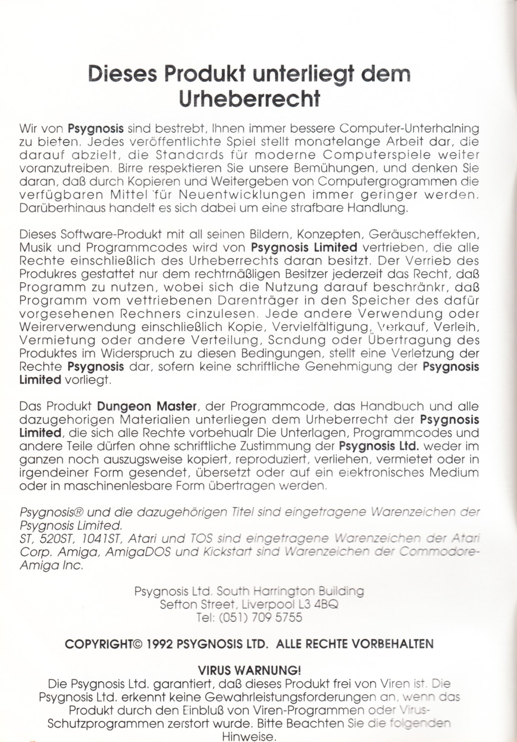 Game - Dungeon Master - DE - PC - Psygnosis - Manual - Page 002 - Scan