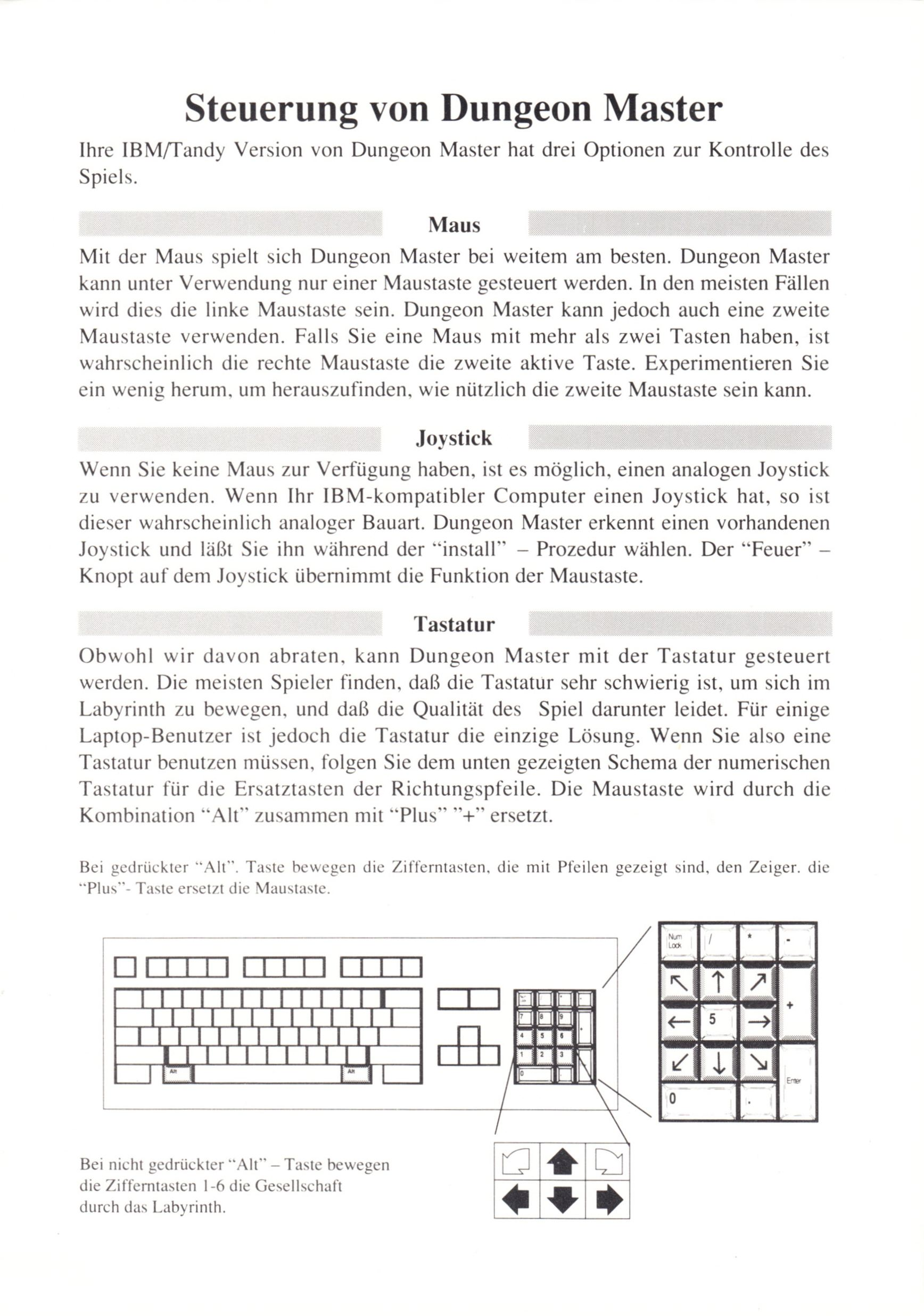Game - Dungeon Master - DE - PC - Psygnosis - Quick Start Guide - Page 002 - Scan