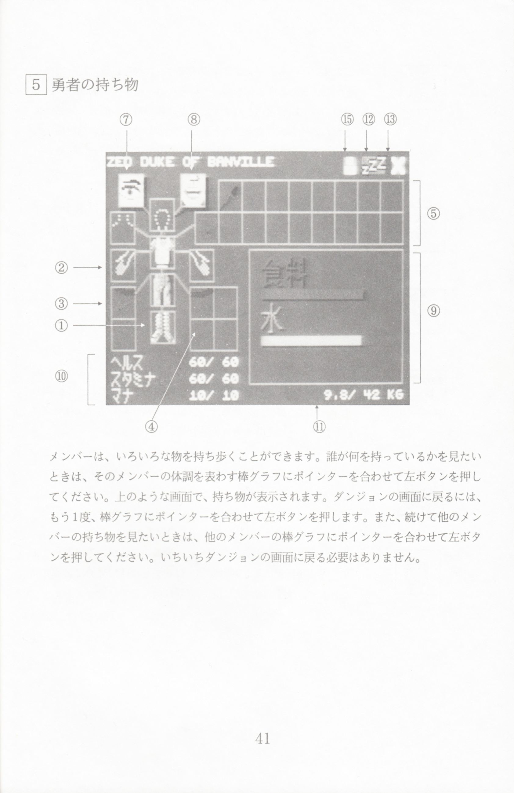 Game - Dungeon Master - JP - PC-9801 - 5.25-inch - Manual - Page 043 - Scan