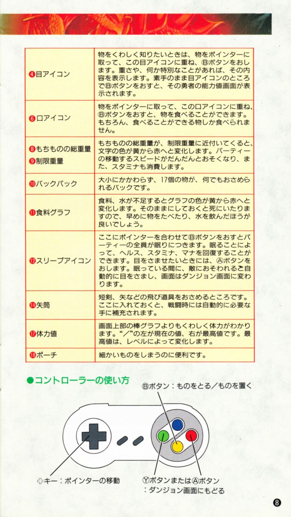 Game - Dungeon Master - JP - Super Famicom - Manual - Page 011 - Scan