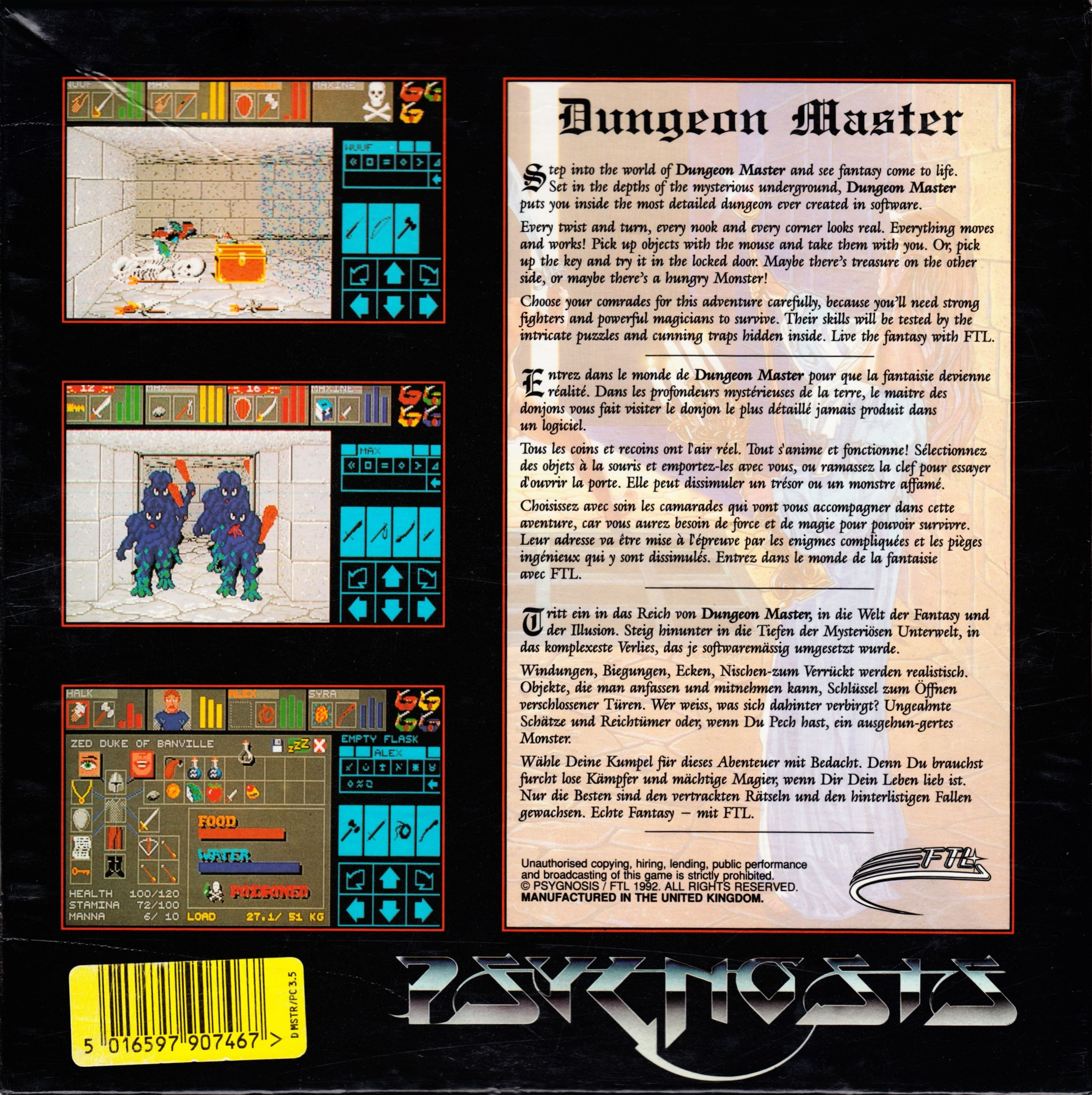 Game - Dungeon Master - UK - PC - Psygnosis - Box - Back - Scan