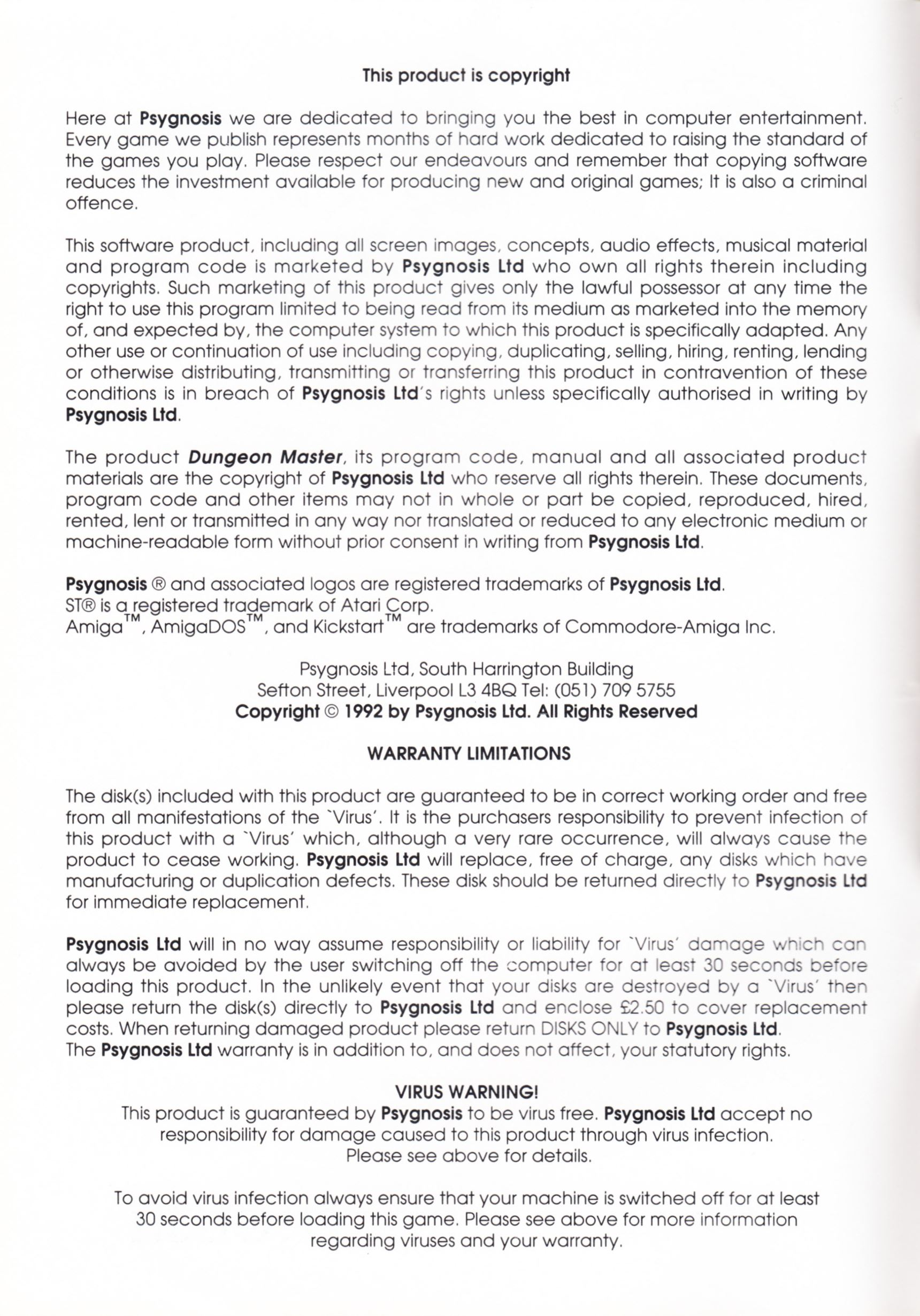 Game - Dungeon Master - UK - PC - Psygnosis - Manual - Page 002 - Scan
