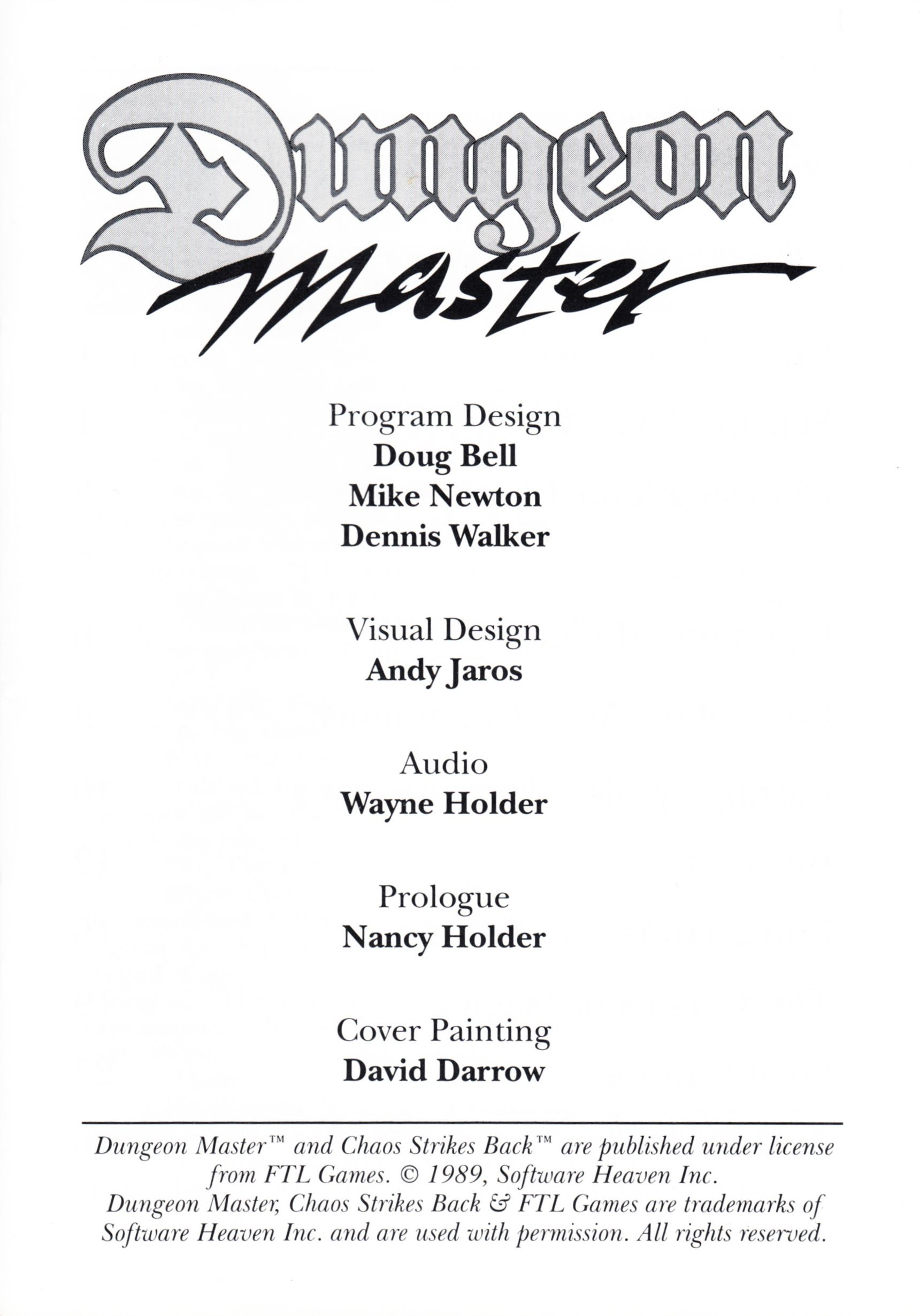 Game - Dungeon Master - UK - PC - Psygnosis - Manual - Page 003 - Scan