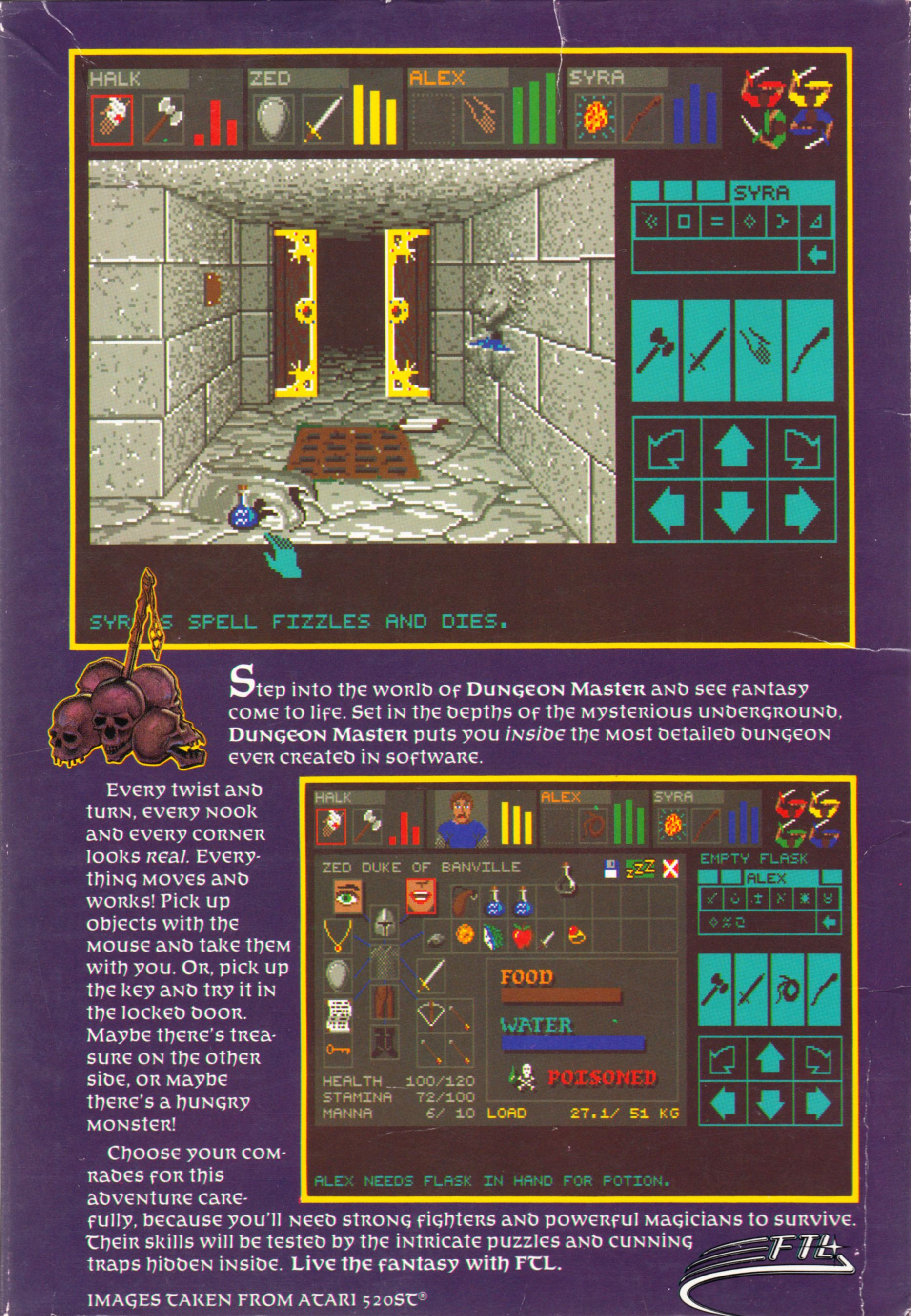 Game - Dungeon Master - US - Apple IIGS - Box - Back - Scan