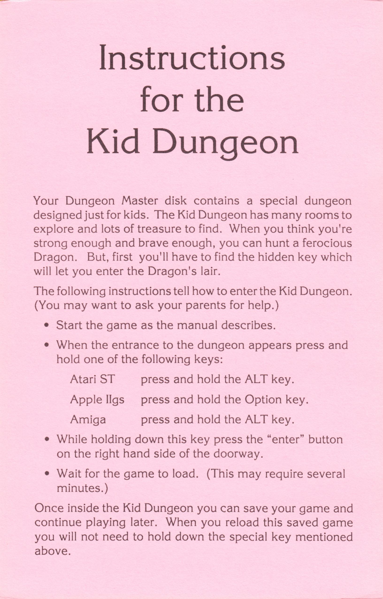 Game - Dungeon Master - US - Apple IIGS - Kid Dungeon Instructions - Front - Scan