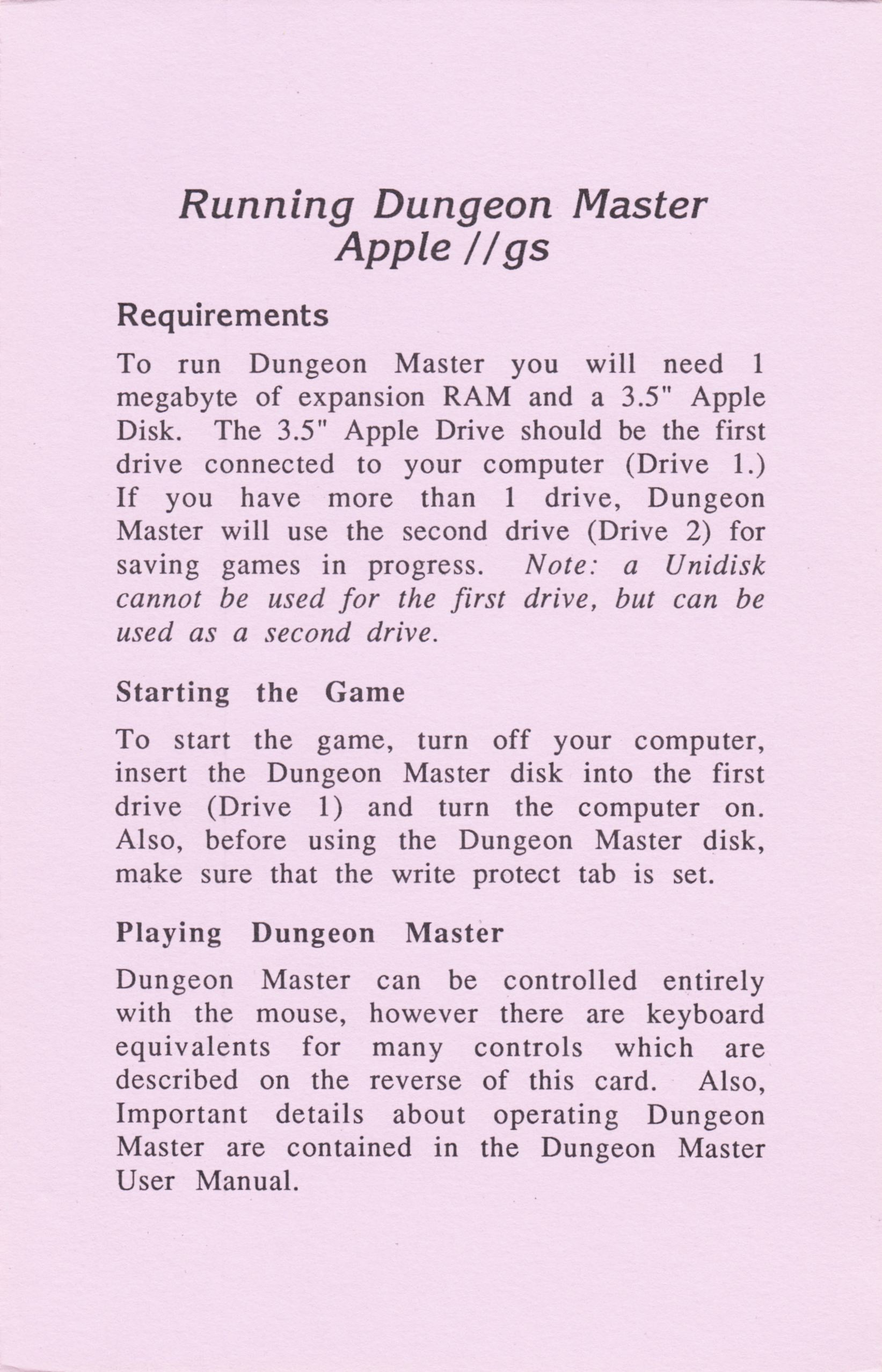 Game - Dungeon Master - US - Apple IIGS - Reference Card - Front - Scan
