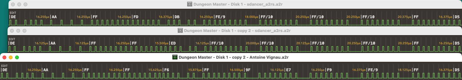 Dungeon Master for Apple IIGS Version 2.0 - Track 0 Side 1 Sector 11 - Gap Timing Comparison