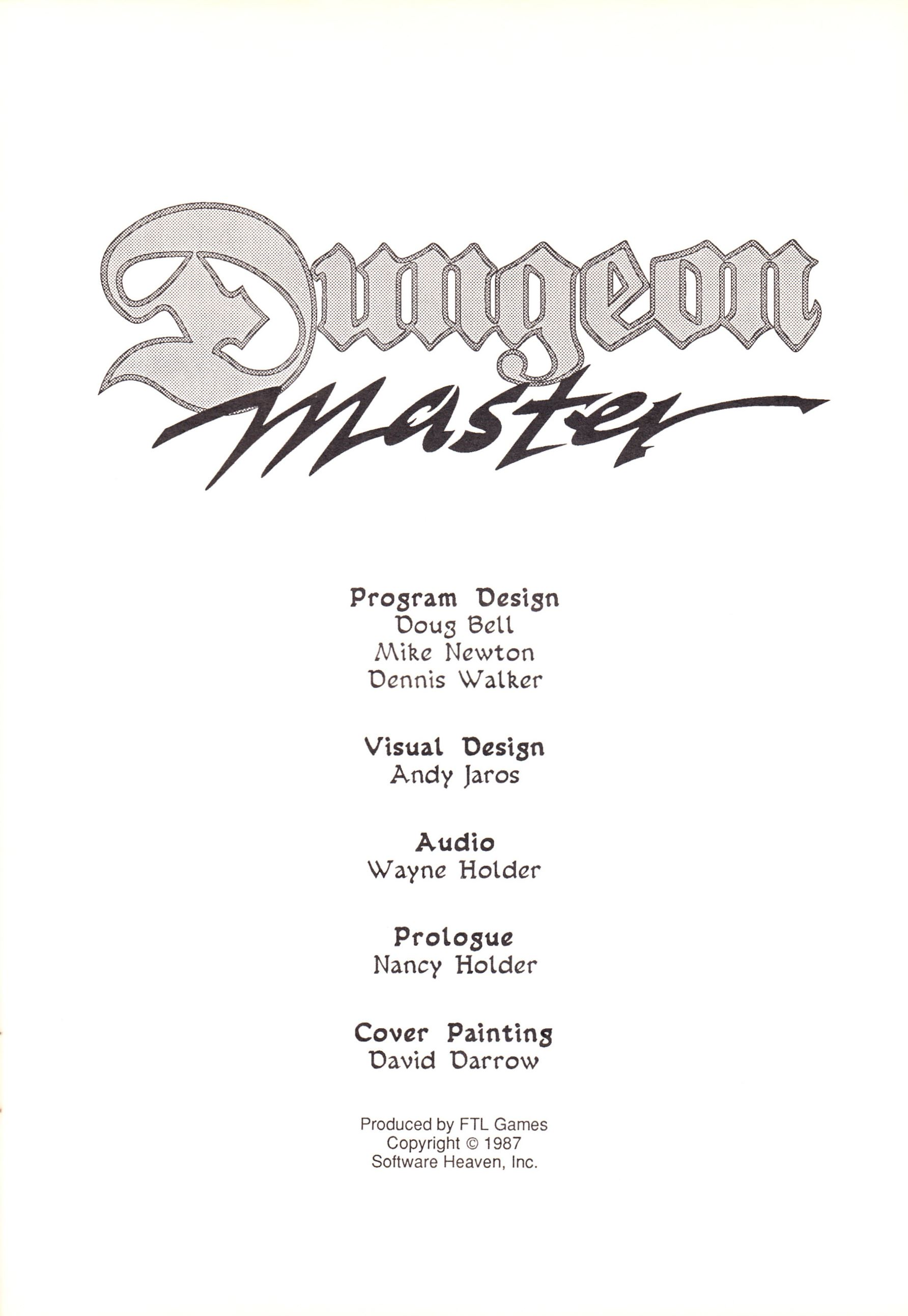 Game - Dungeon Master - US - Atari ST - Early Box - Manual - Page 003 - Scan