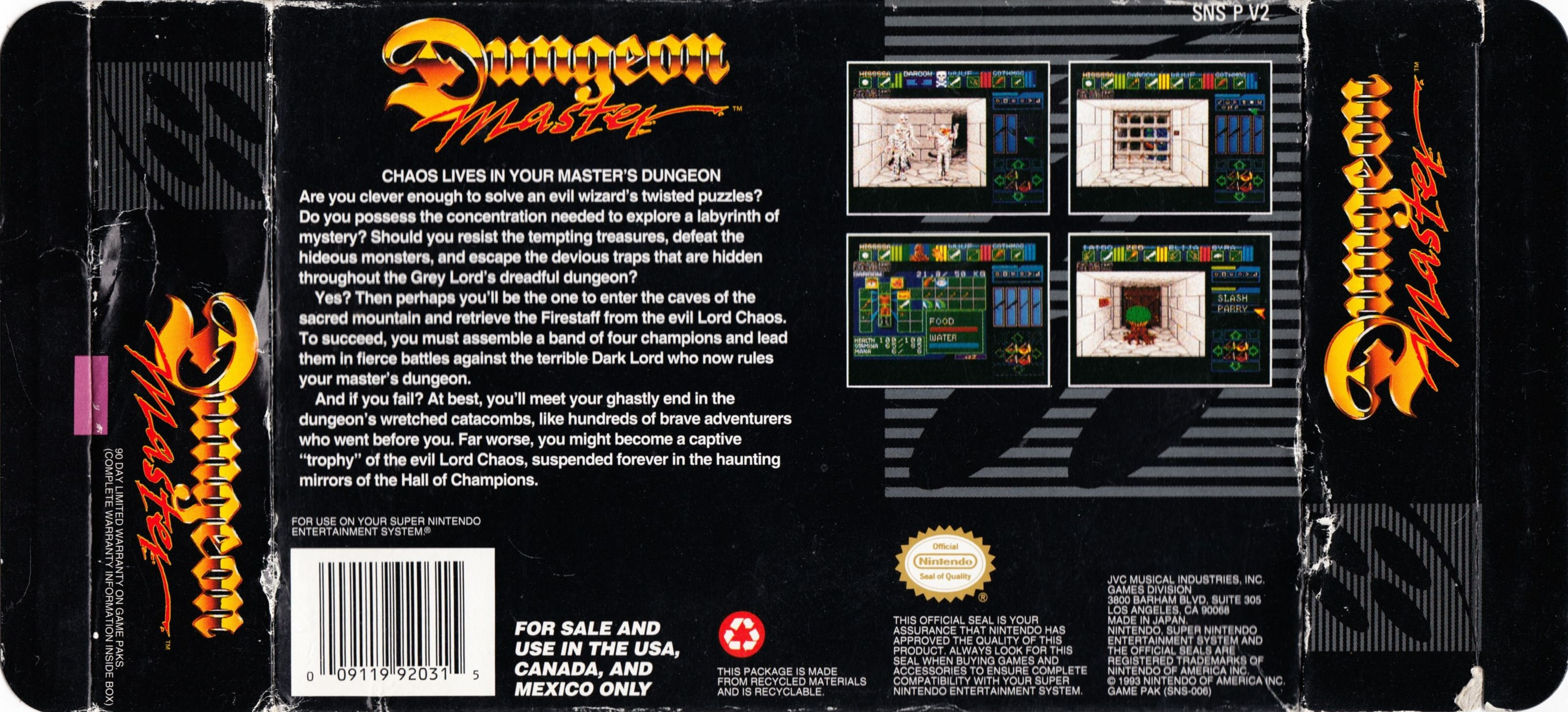 Game - Dungeon Master - US - Super NES - Box - Back Left Right - Scan