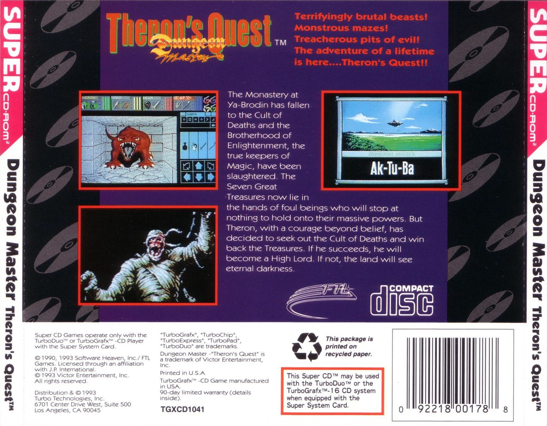 Game - Theron's Quest - US - Turbografx - Back Card - Front - Scan