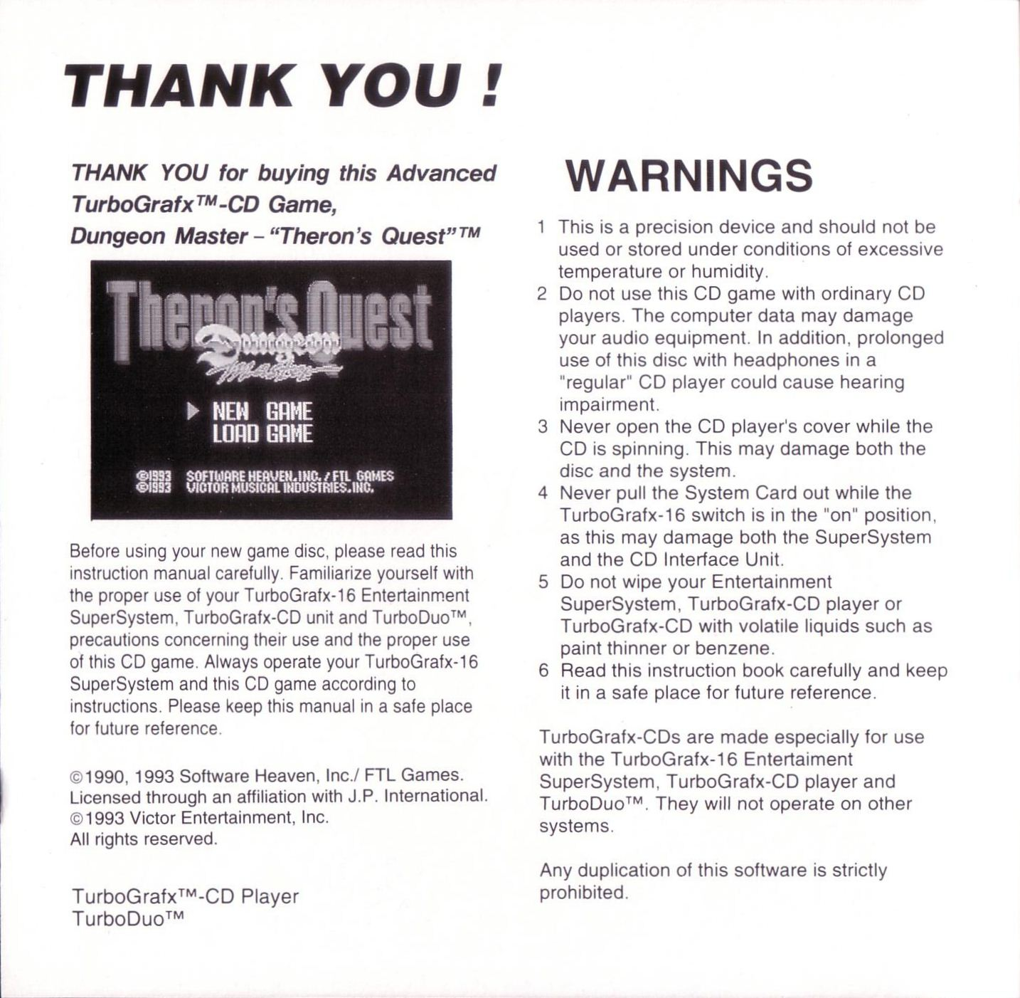 Game - Theron's Quest - US - Turbografx - Booklet - Page 002 - Scan