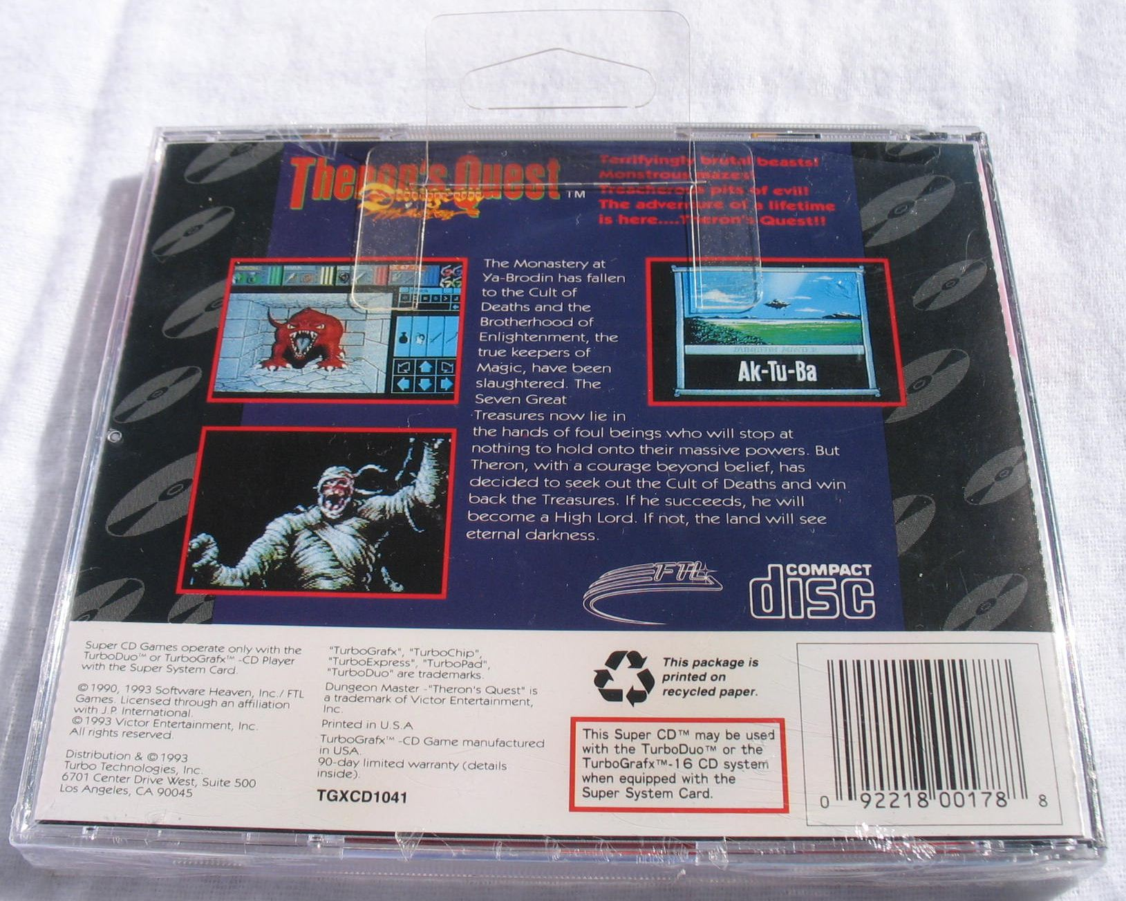 Game - Theron's Quest - US - Turbografx - Box Hook - Back - Photo