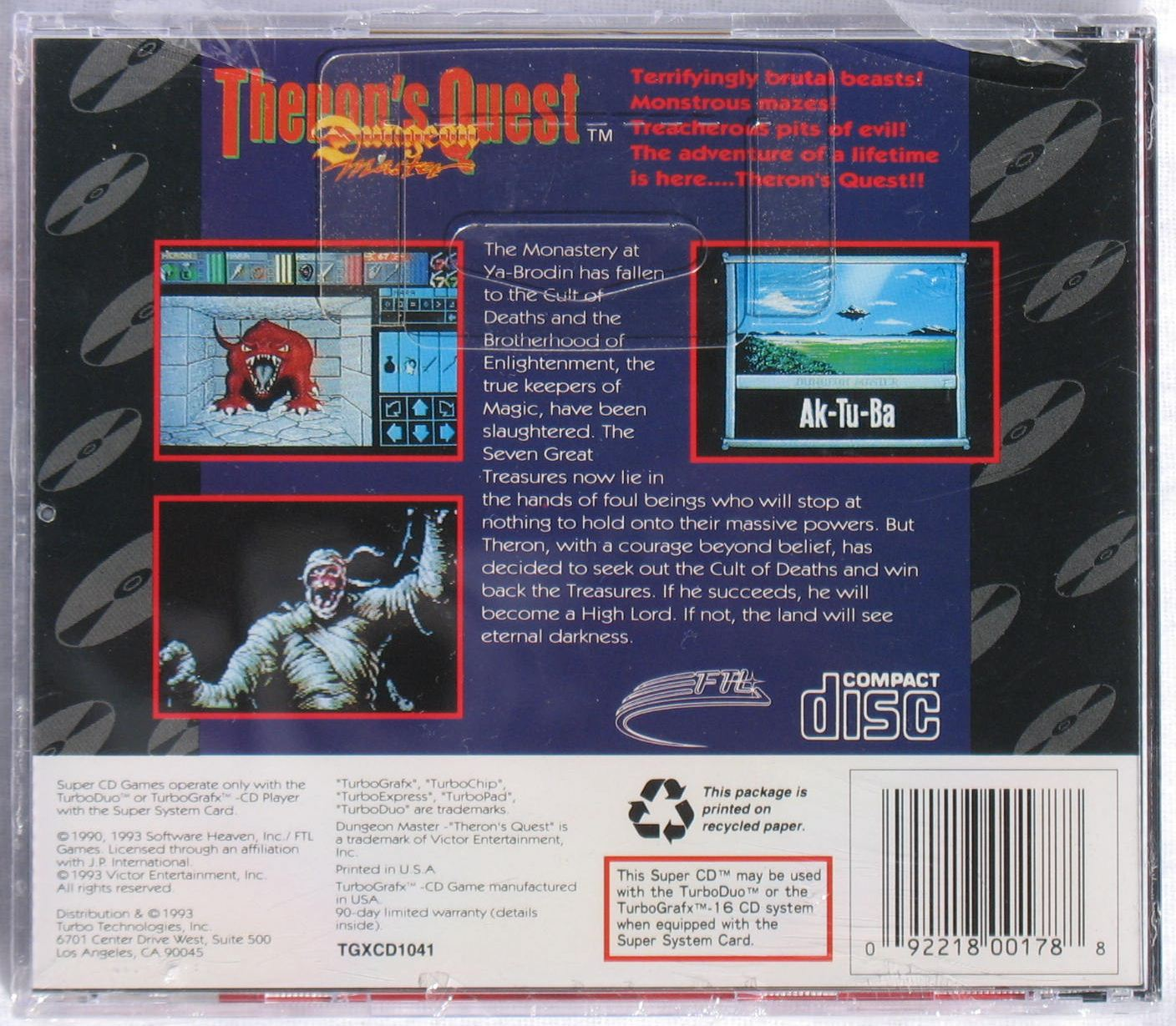 Game - Theron's Quest - US - Turbografx - Box - Back - Photo