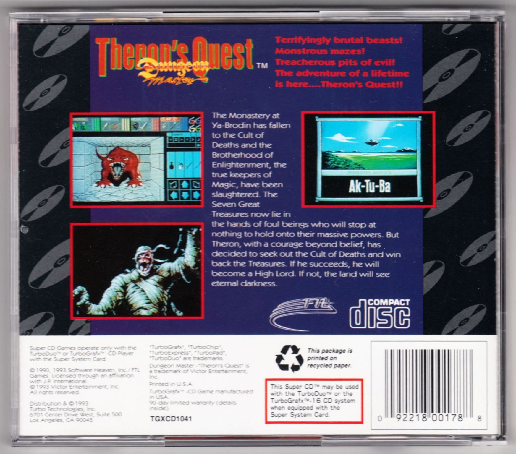 Game - Theron's Quest - US - Turbografx - Box - Back - Scan