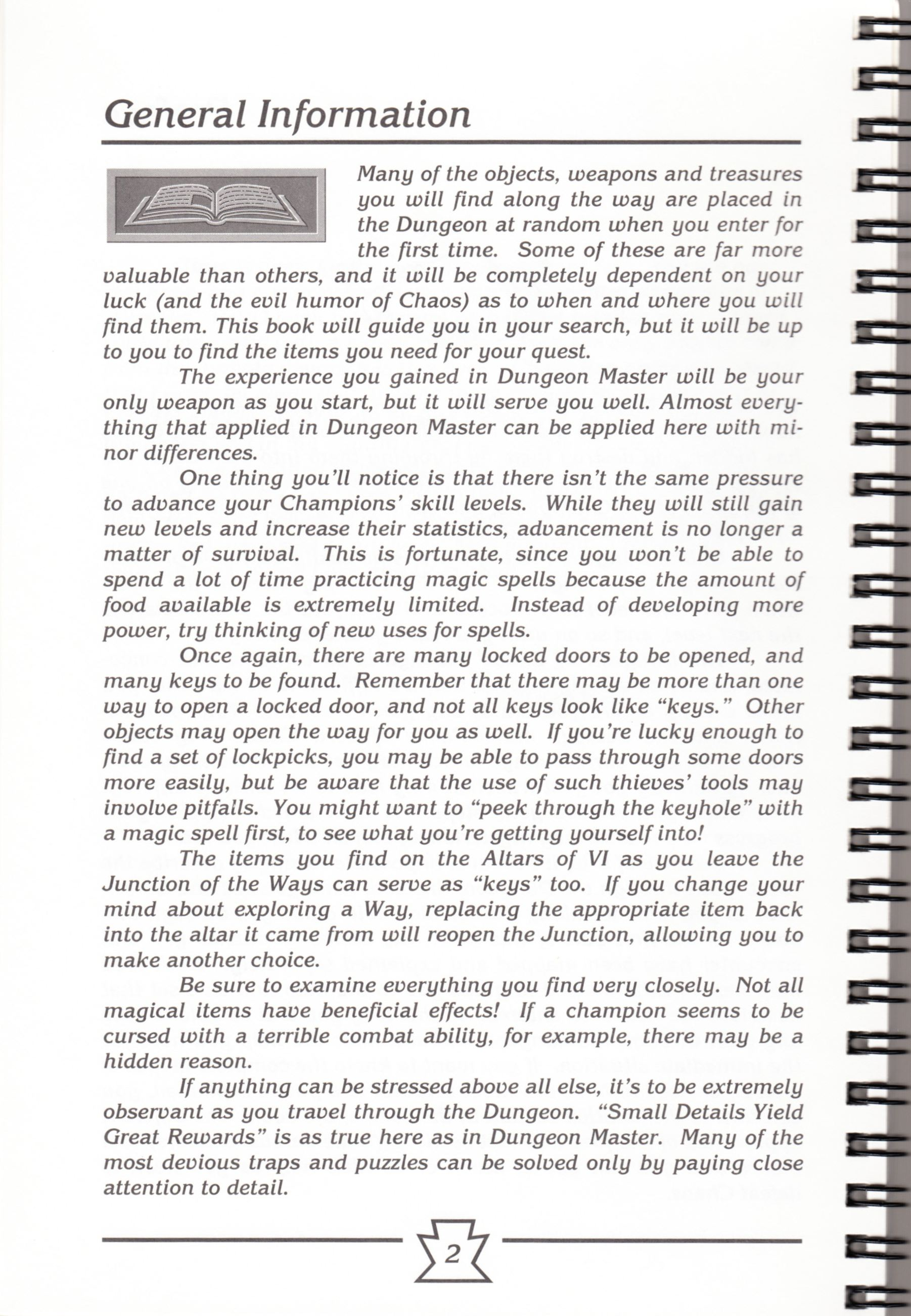 Hint Book - Chaos Strikes Back Adventurer's Handbook - US - Page 008 - Scan