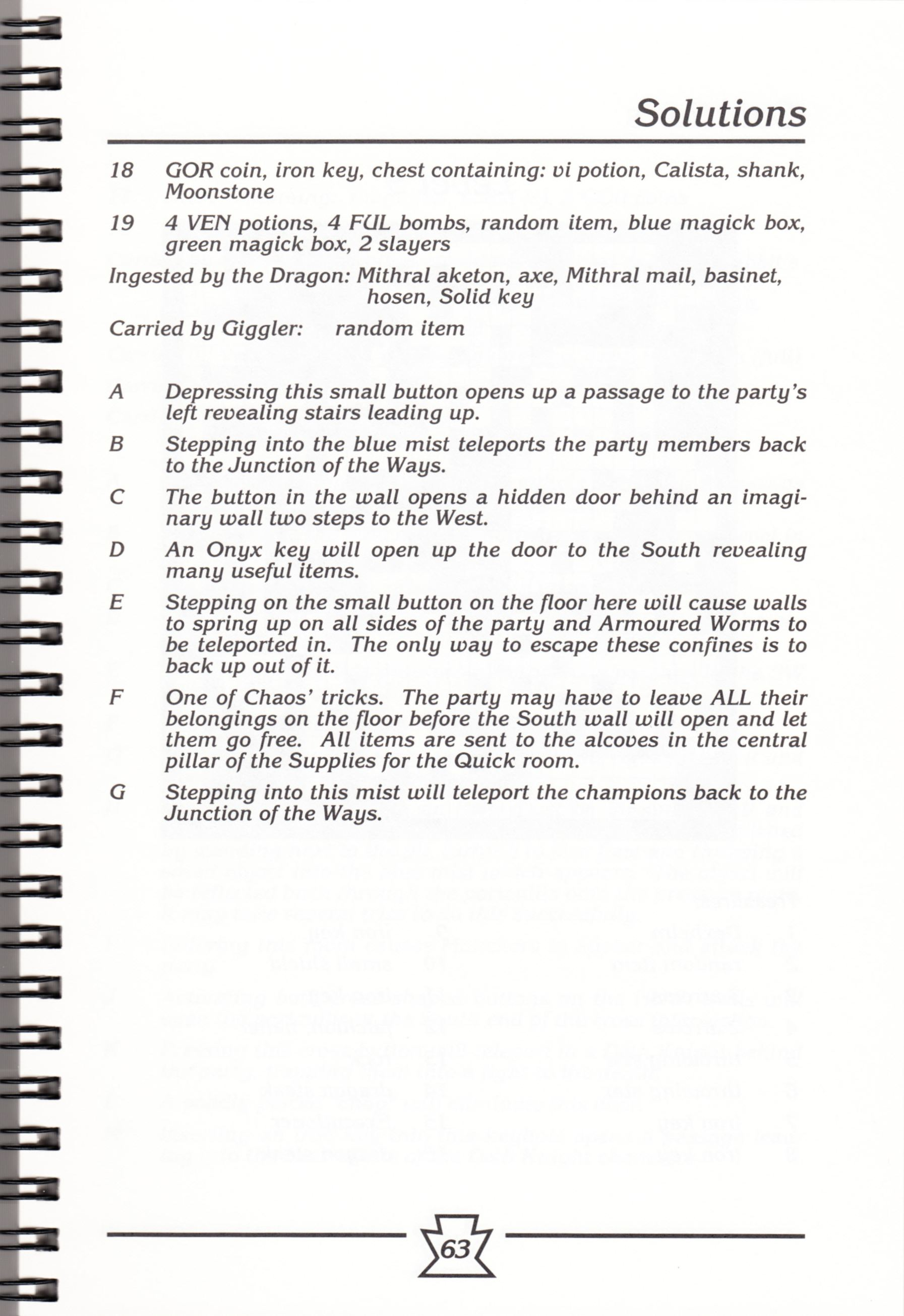 Hint Book - Chaos Strikes Back Adventurer's Handbook - US - Page 069 - Scan