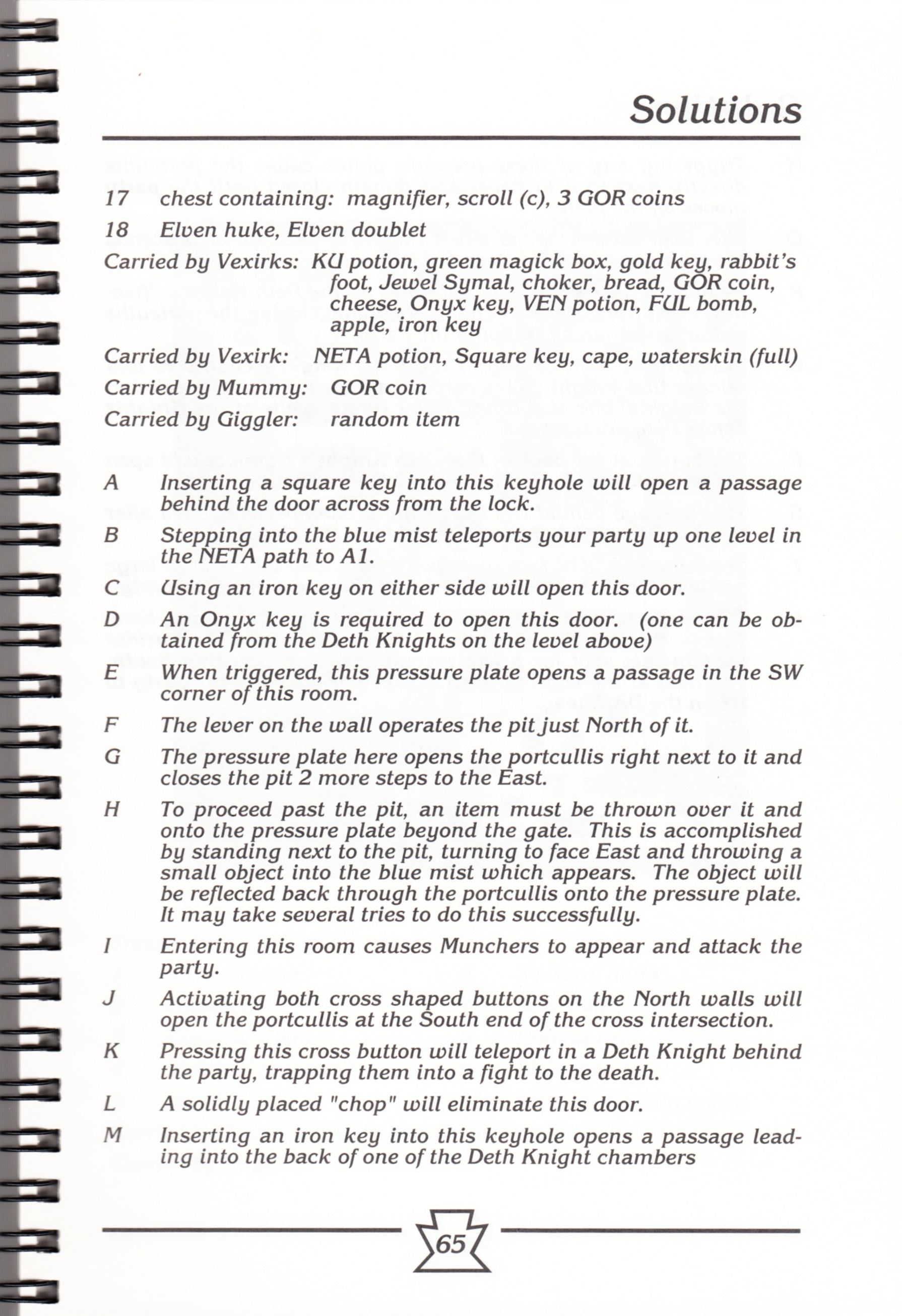 Hint Book - Chaos Strikes Back Adventurer's Handbook - US - Page 071 - Scan