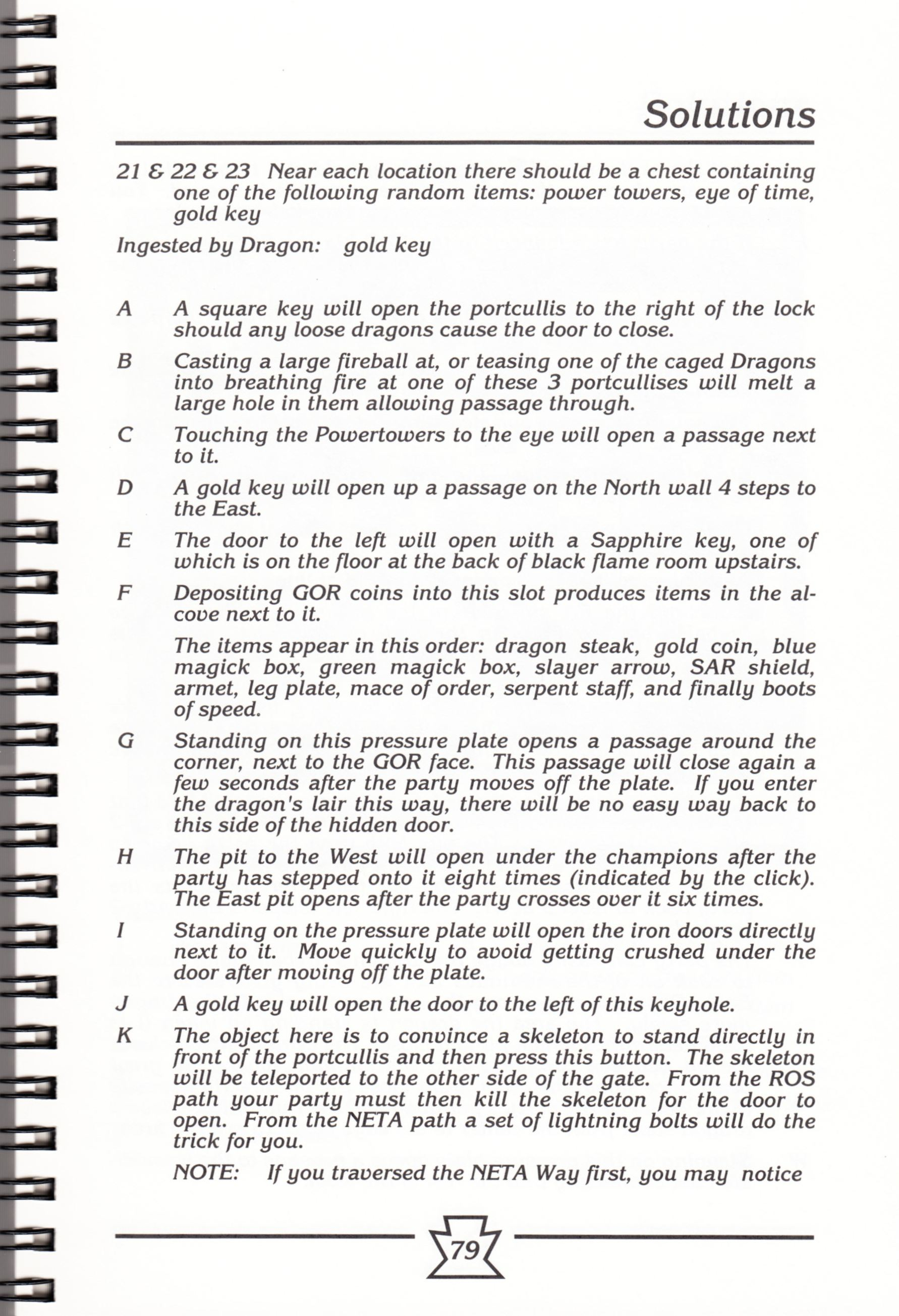 Hint Book - Chaos Strikes Back Adventurer's Handbook - US - Page 085 - Scan