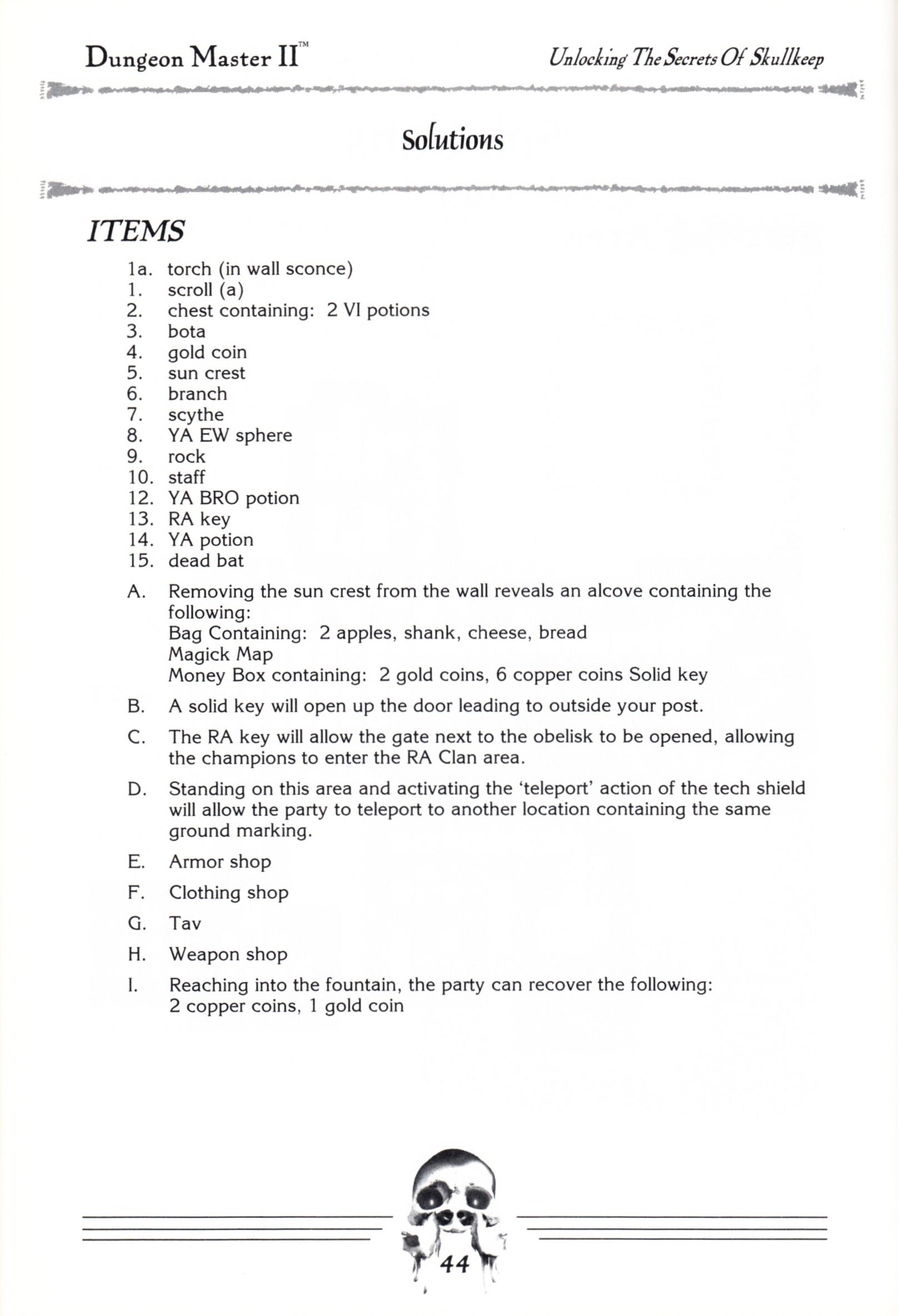 Hint Book - Dungeon Master II Clue Book - US - Page 046 - Scan